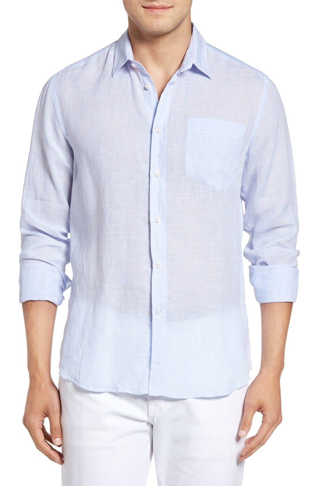 Regular Fit Linen Sport Shirt,                         Main,                         color, Sky Blue