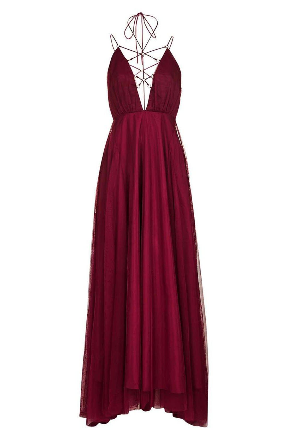 Alternate Image 3  - Topshop Lace-Up Tulle Maxi Dress