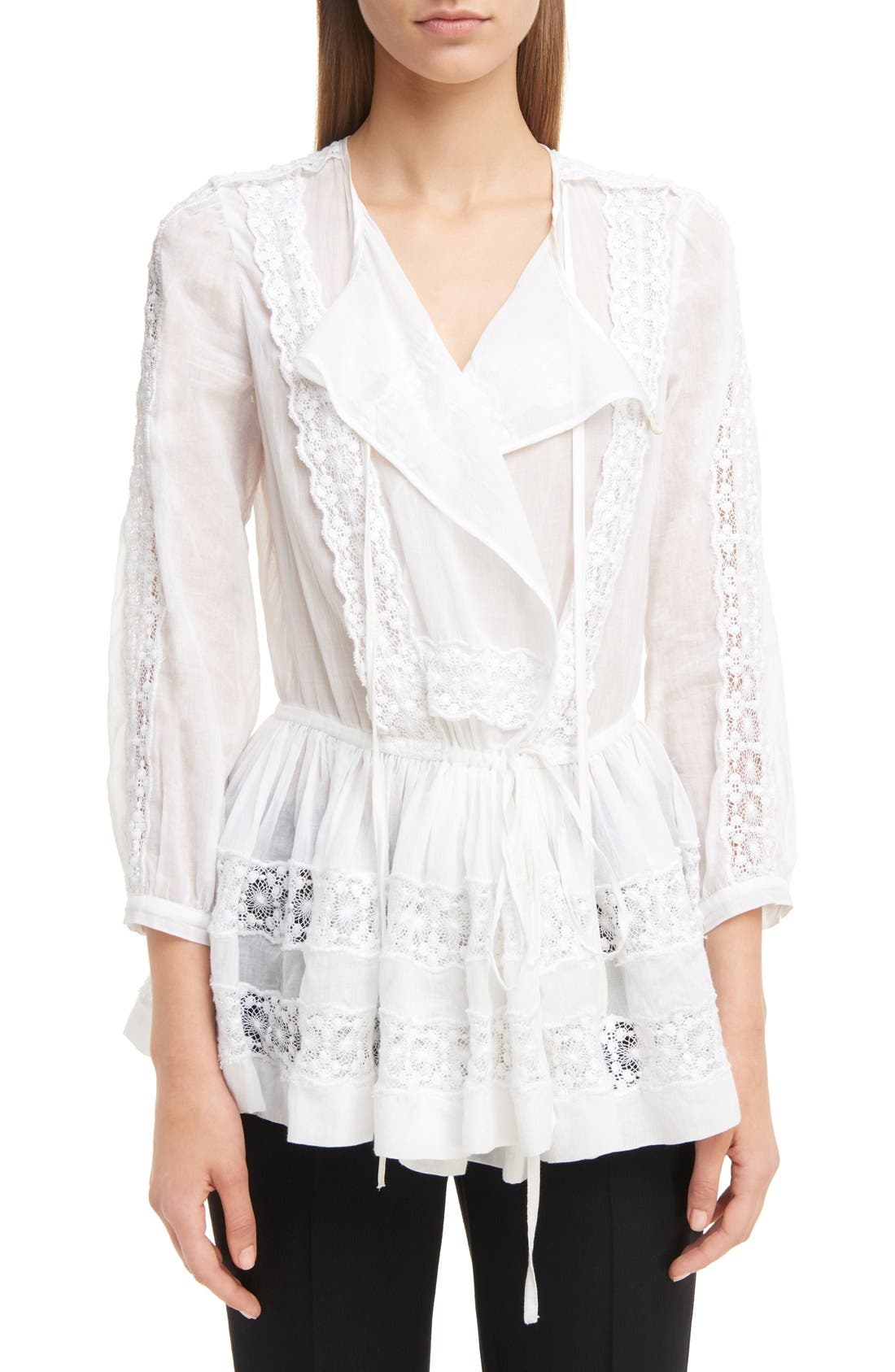 Main Image - Givenchy Ruffle Crepon Peasant Blouse