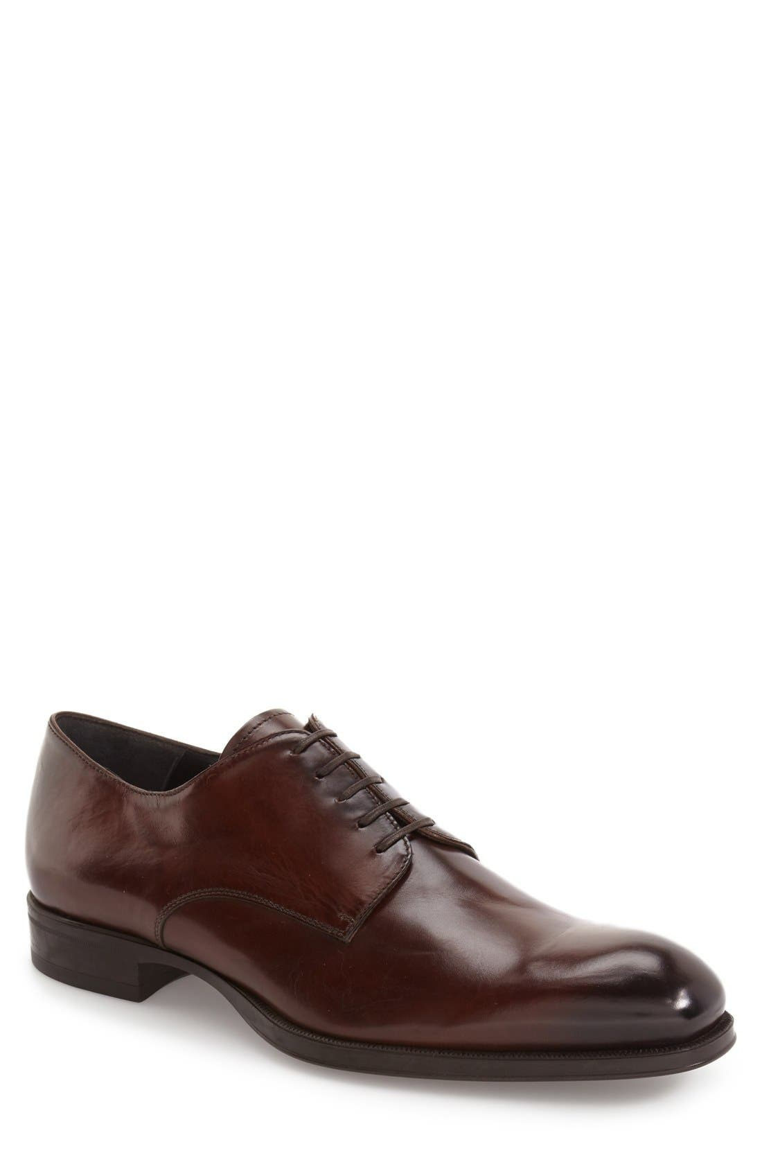 'Buchanan' Plain Toe Derby,                             Main thumbnail 1, color,                             Mogano