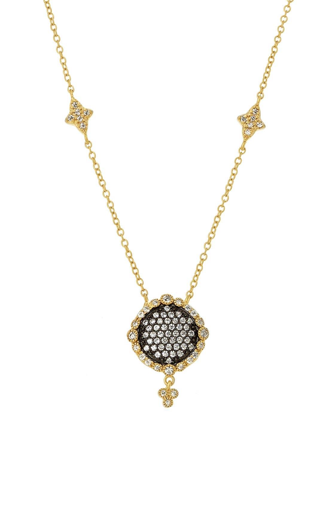 Disc Pendant Necklace,                         Main,                         color, Gold/ Gunmetal