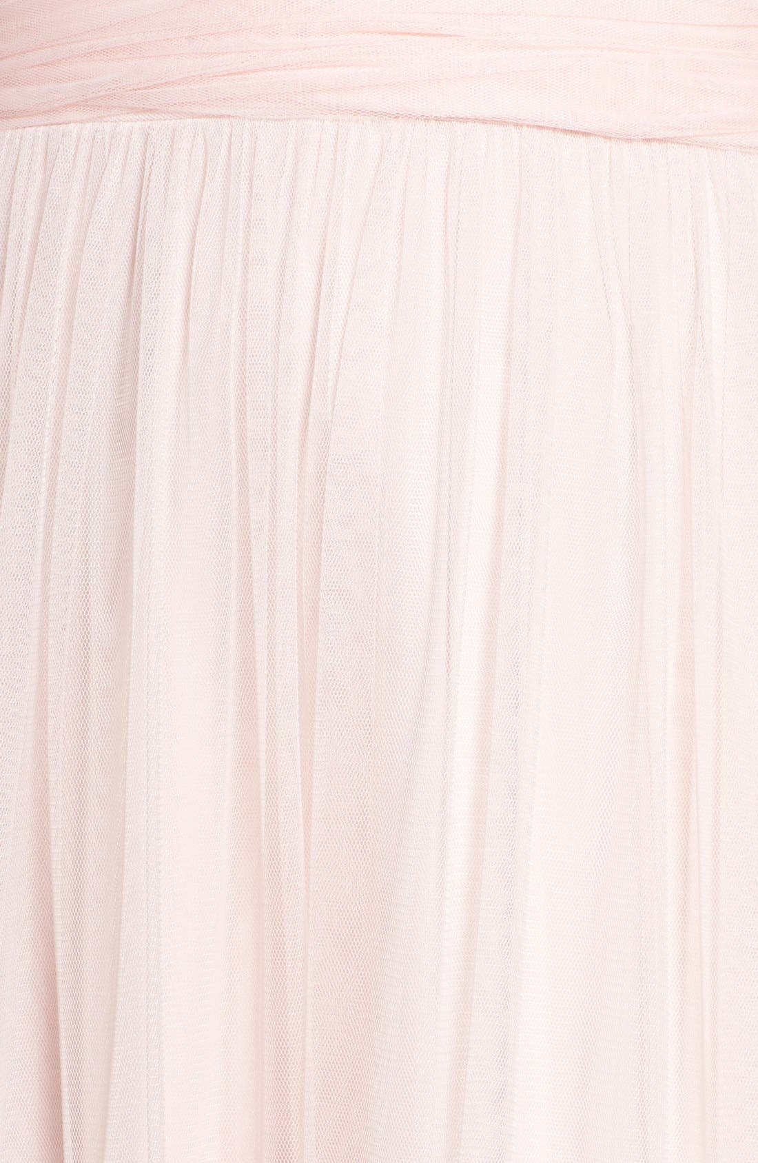 Deep V-Neck Chiffon & Tulle Gown,                             Alternate thumbnail 5, color,                             Ice Pink