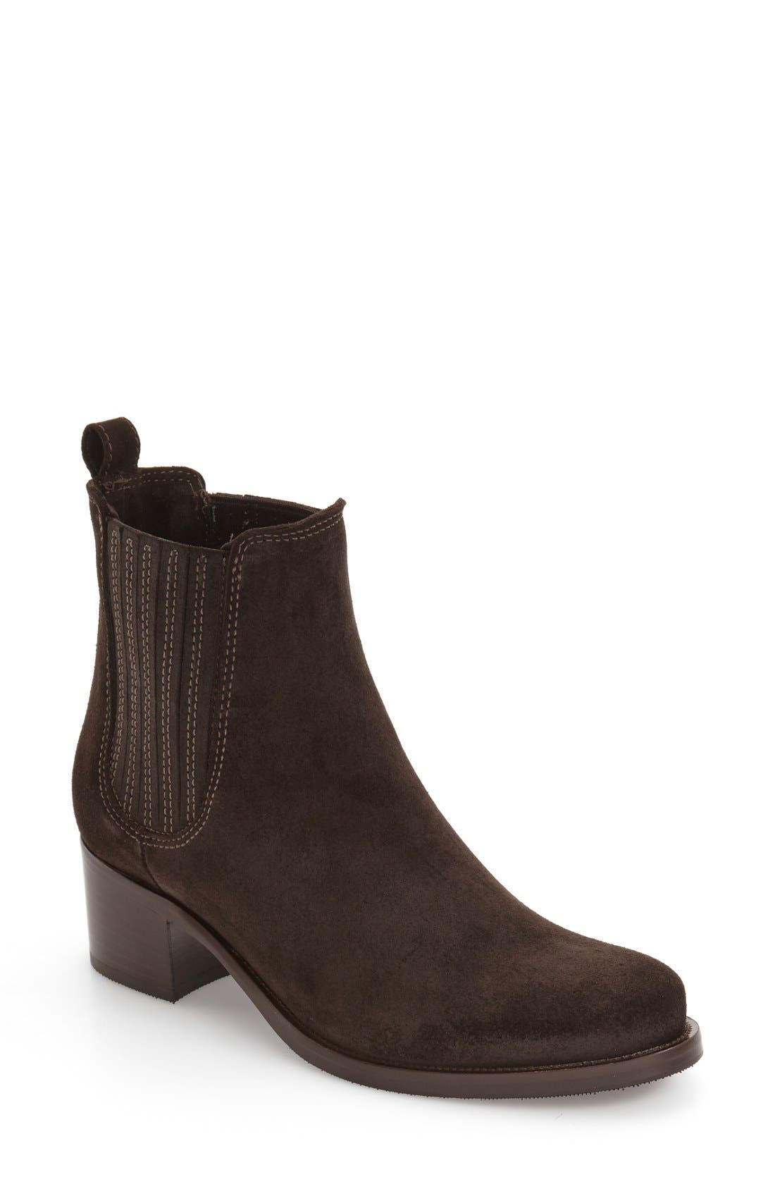 Prince Waterproof Bootie,                             Main thumbnail 1, color,                             Brown Suede