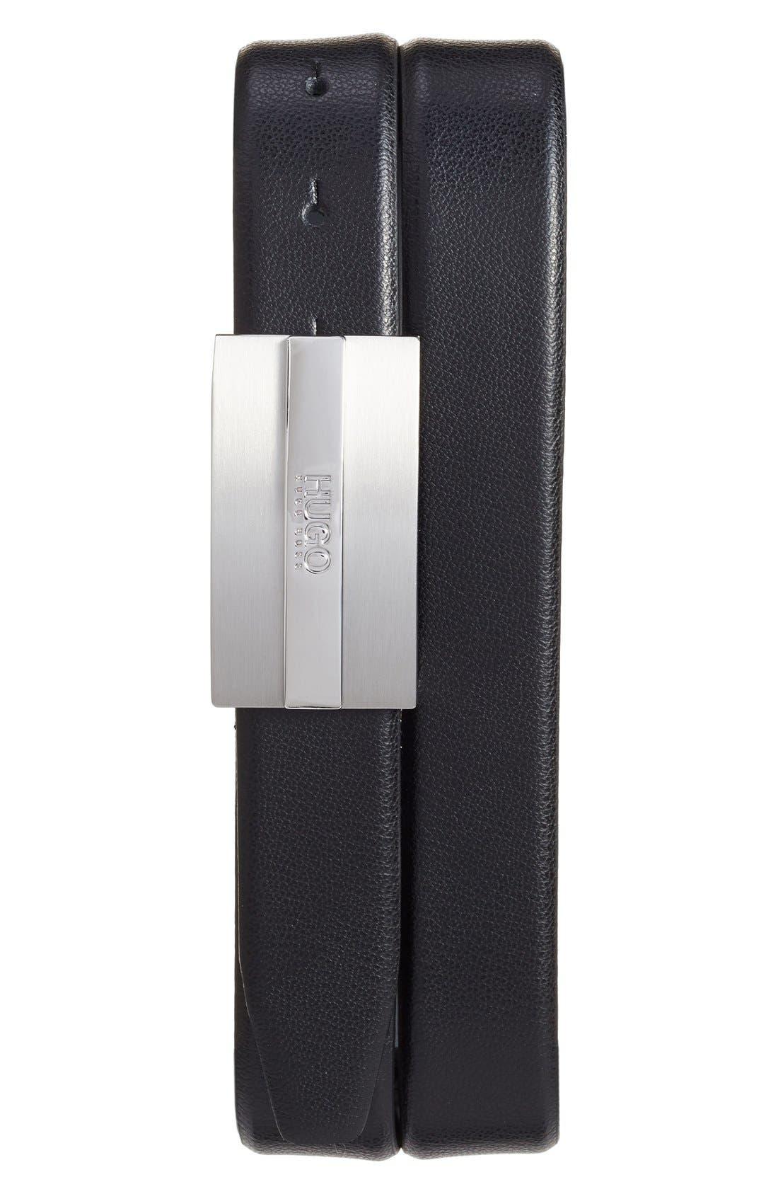 Baxter Leather Belt,                         Main,                         color, Black