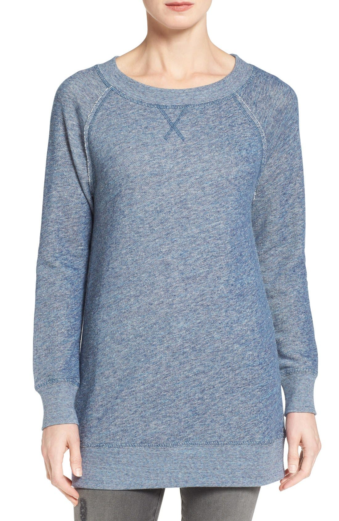 Alternate Image 1 Selected - Caslon® Space Dye Tunic Sweatshirt (Regular & Petite)