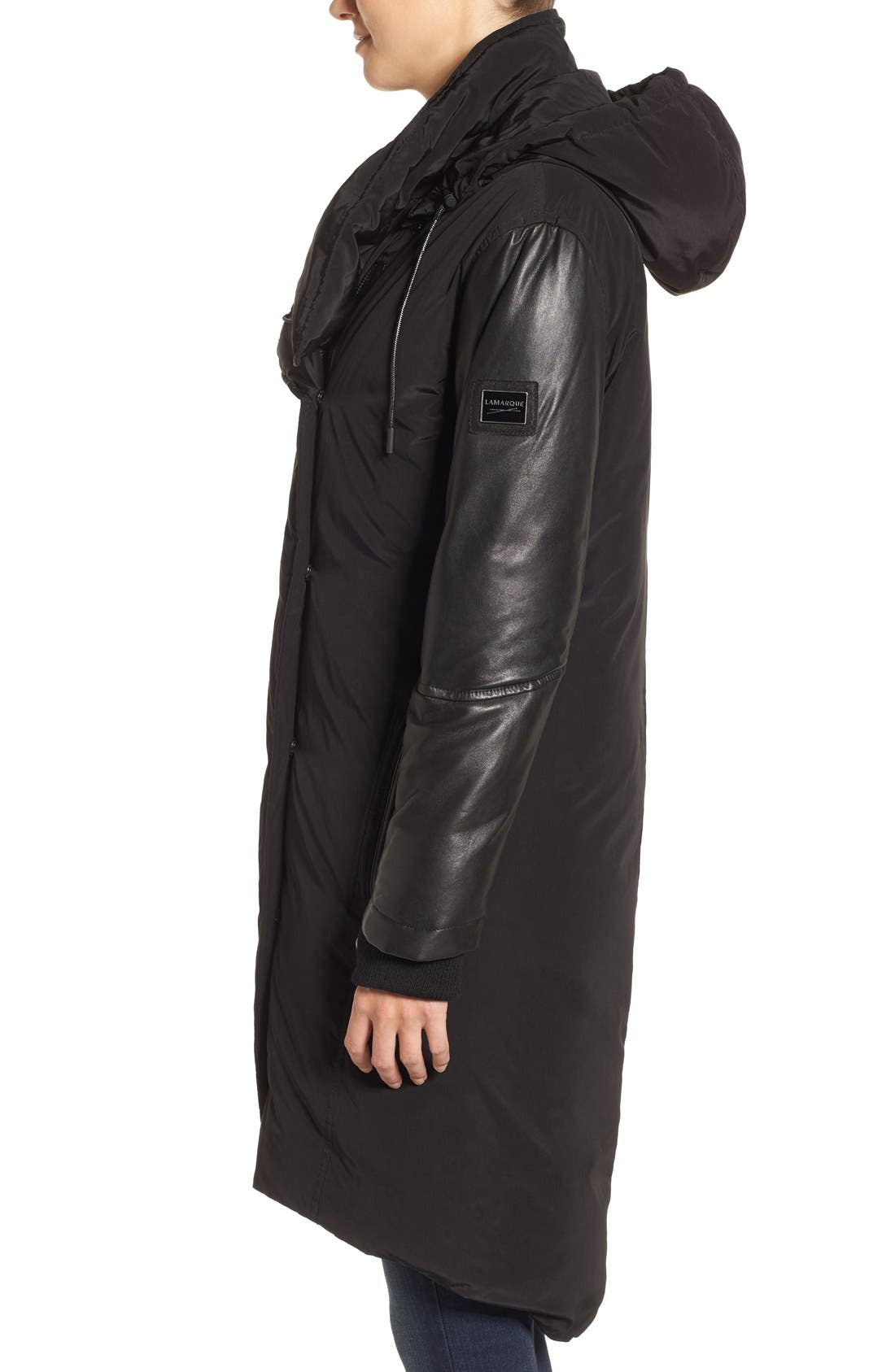 Alternate Image 3  - LAMARQUE Oversize Down Coat with Leather Trim