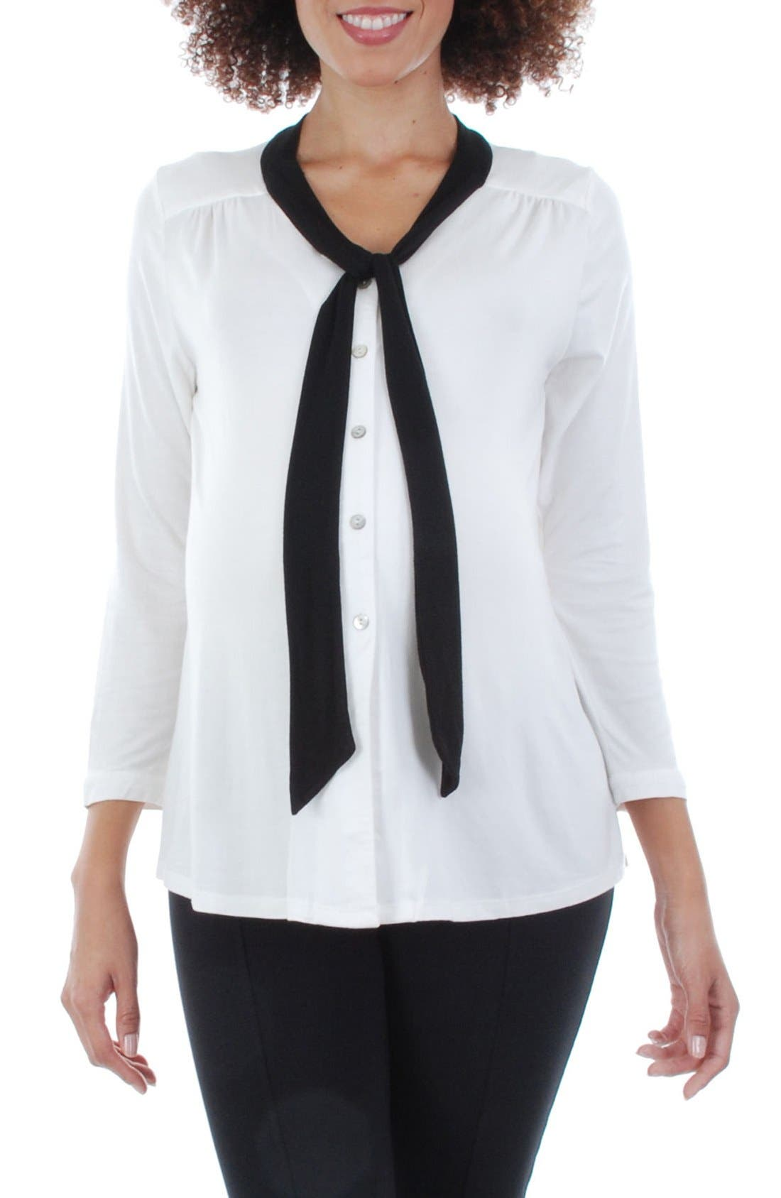 Everly Grey 'Kitty' Tie Neck Maternity Top