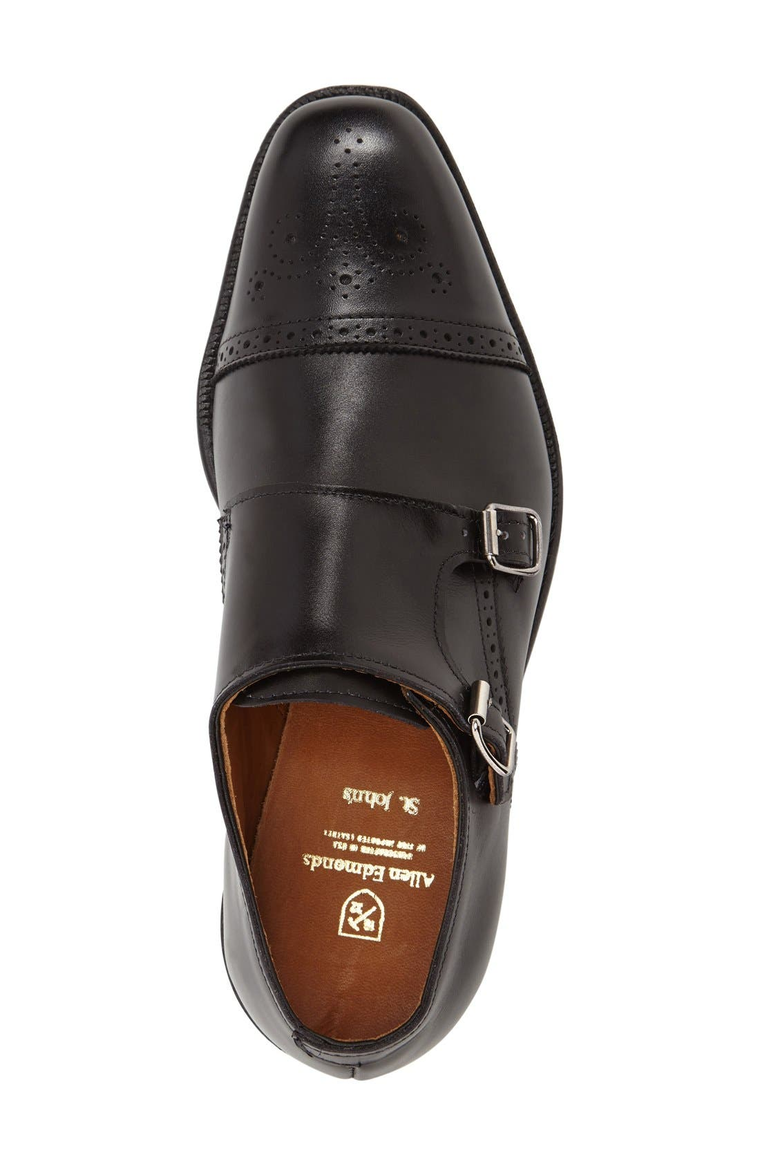 'St. Johns' Double Monk Strap Shoe,                             Alternate thumbnail 3, color,                             Black Leather