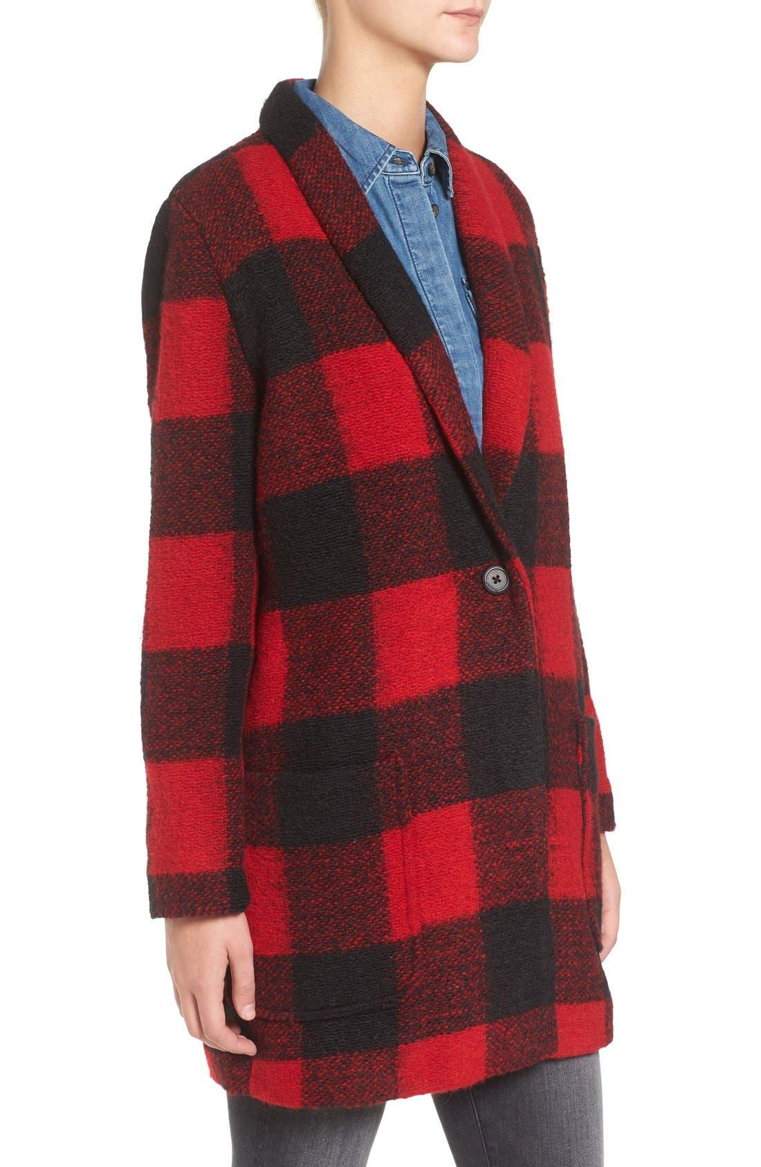 Alternate Image 3  - BB Dakota Holton Plaid Shawl Collar Coat