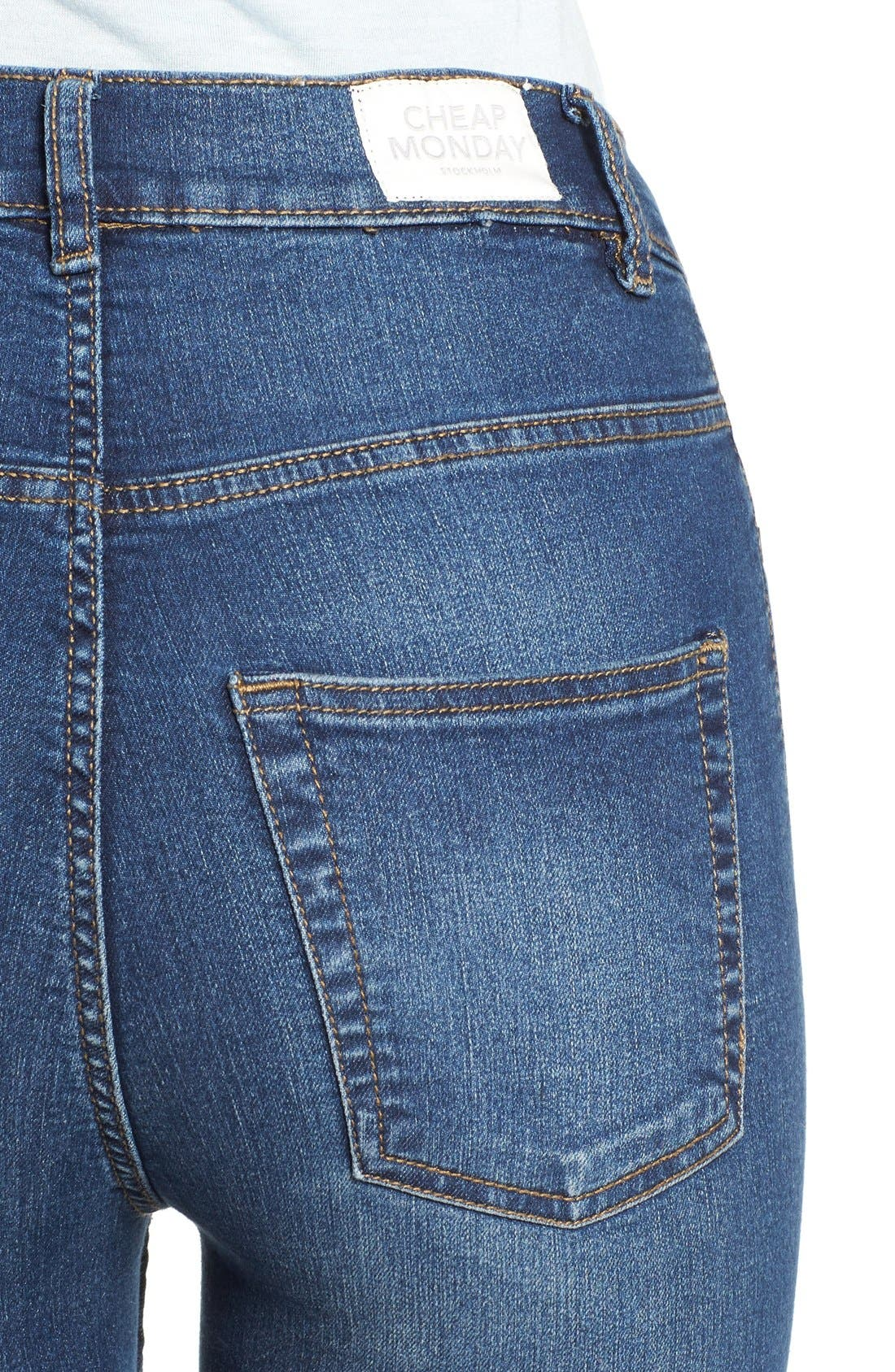Alternate Image 4  - Cheap Monday High Rise Skinny Jeans (Dim Blue)