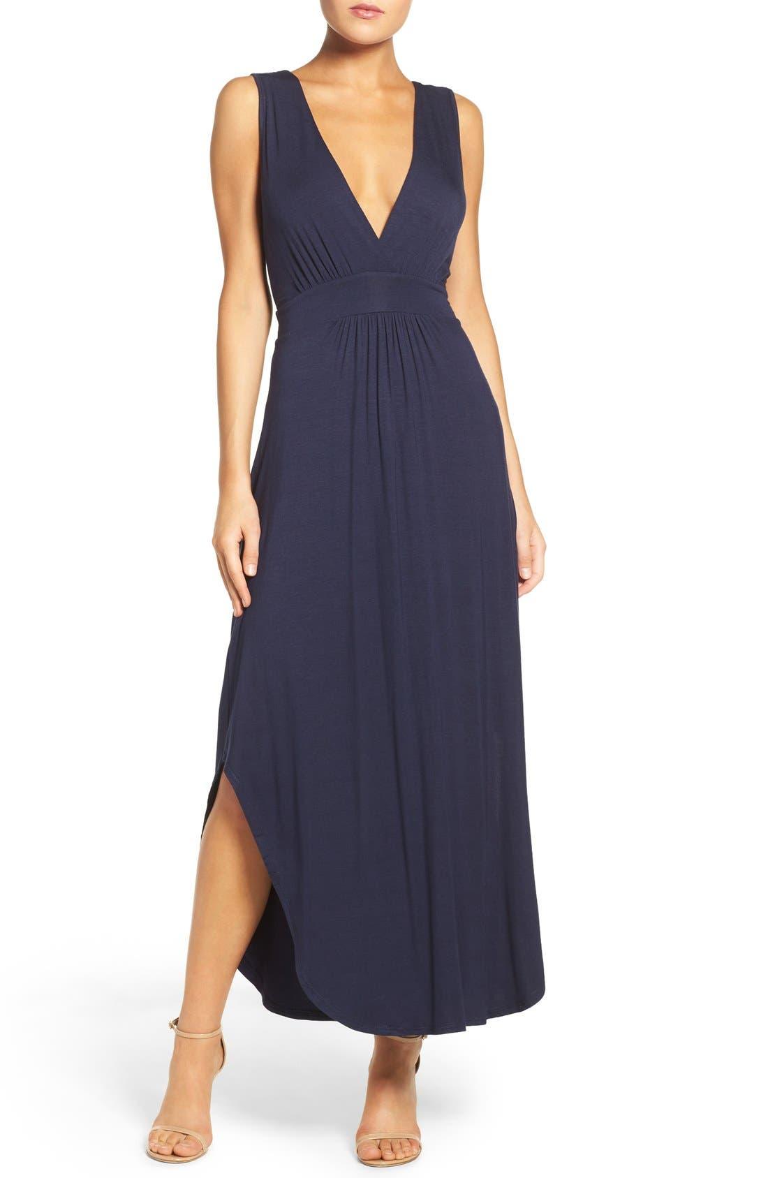 V-Neck Jersey Dress,                             Main thumbnail 1, color,                             Indigo