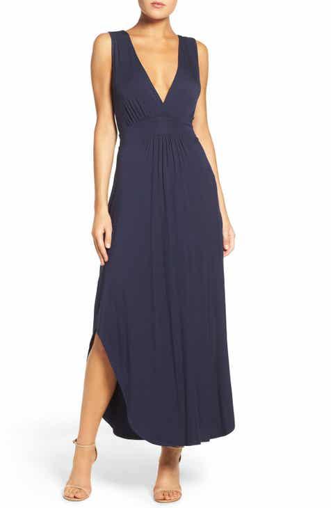 Fraiche by J V-Neck Jersey Maxi Dress