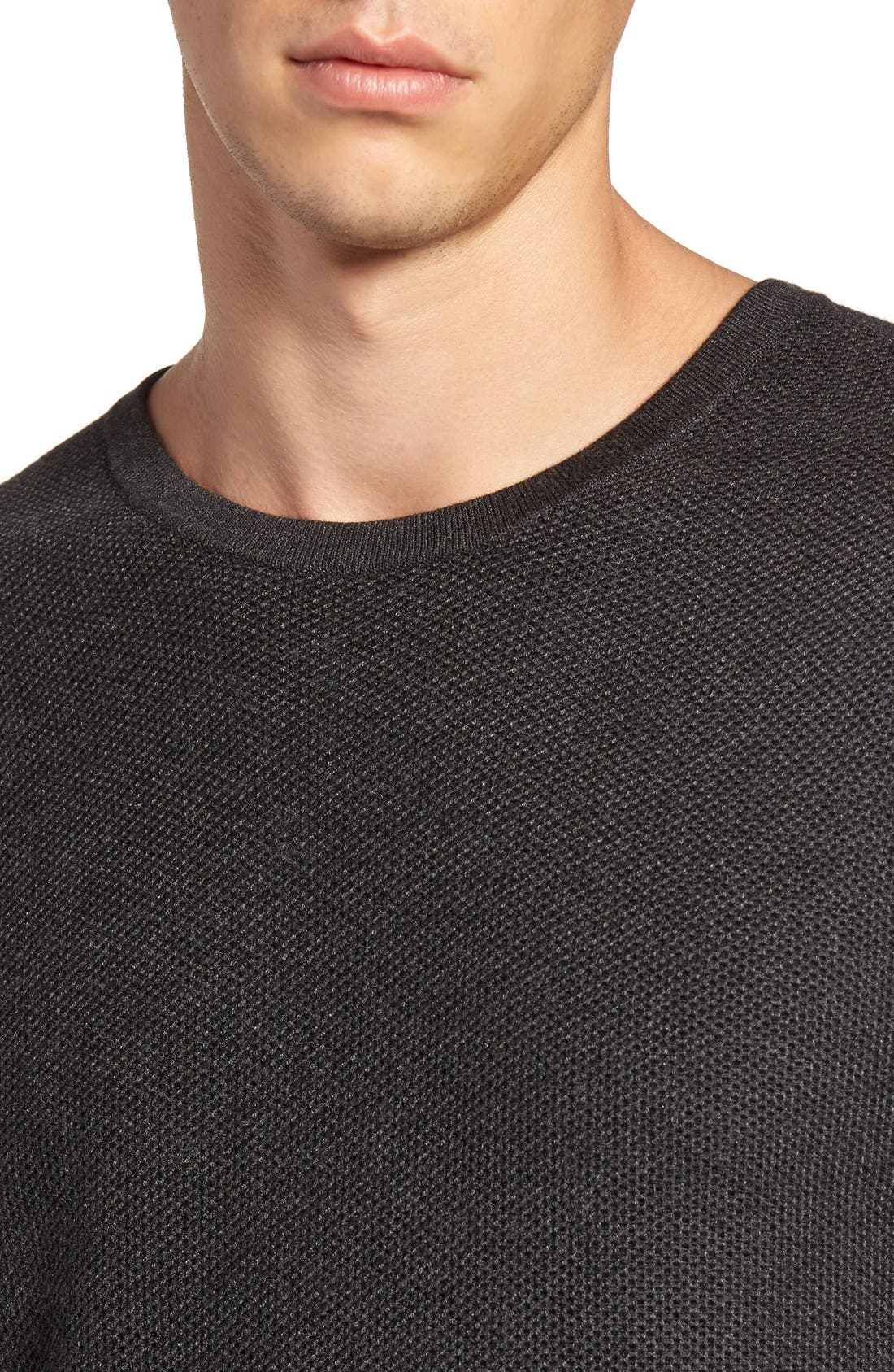 Honeycomb Stitch Crewneck Sweater,                             Alternate thumbnail 4, color,                             Grey Dark Charcoal Heather