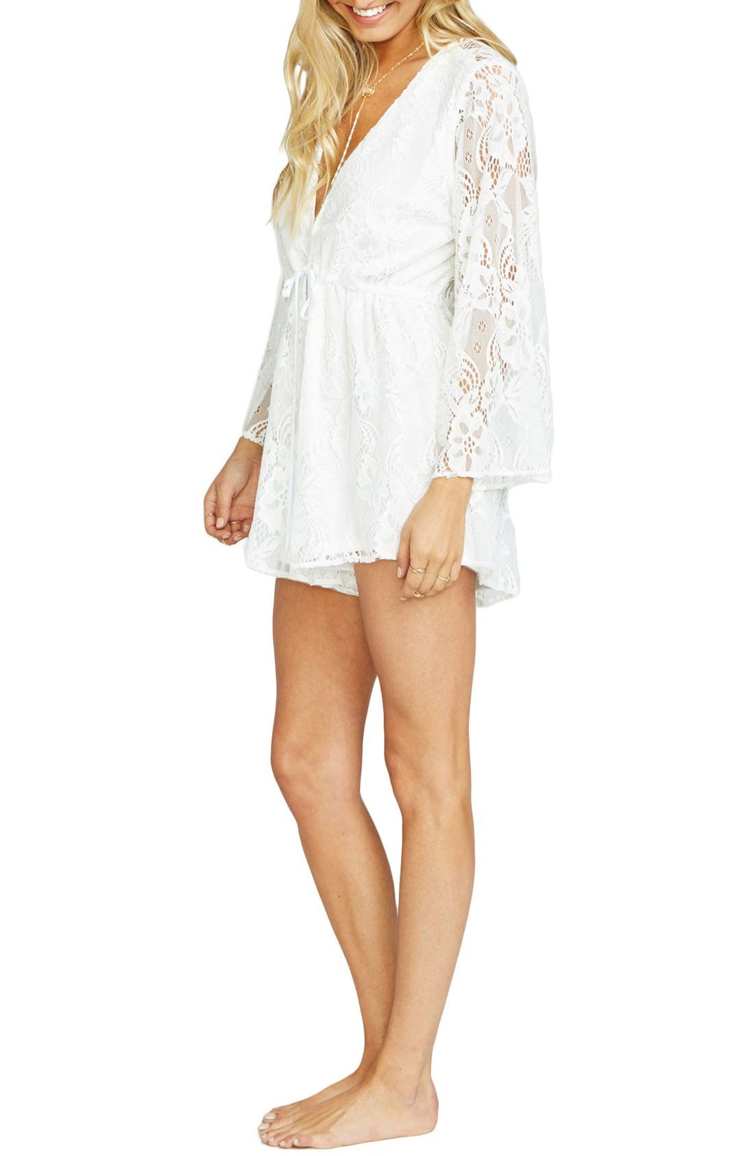 Roxy Plunging Tie Waist Romper,                             Alternate thumbnail 2, color,                             Lady In Lace