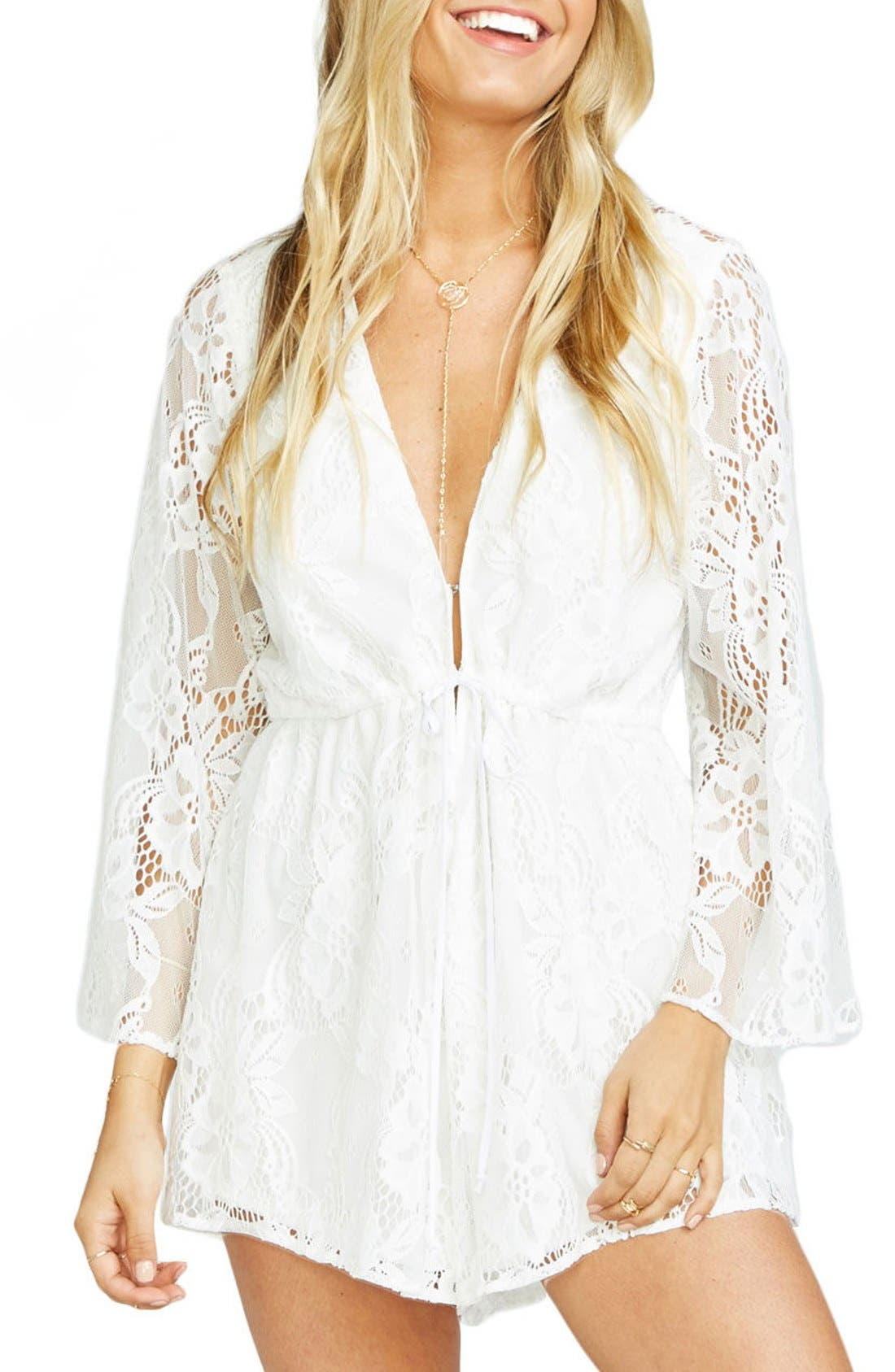Roxy Plunging Tie Waist Romper,                             Main thumbnail 1, color,                             Lady In Lace