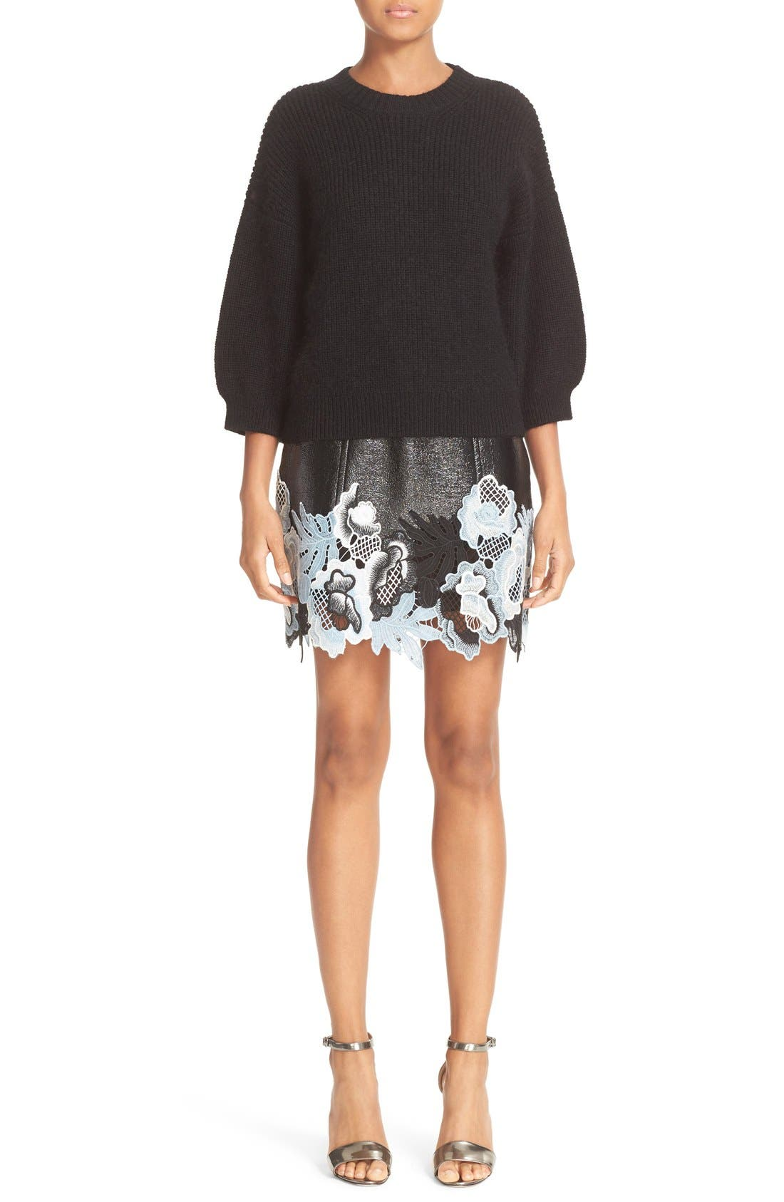 Alternate Image 2  - 3.1 Phillip Lim Lace Trim Crinkle Patent Vinyl Skirt
