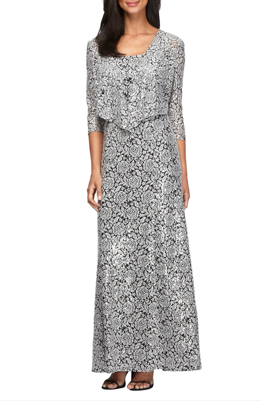Alex Evenings Sequin Embroidered Mesh A-Line Gown & Jacket (Regular & Petite)