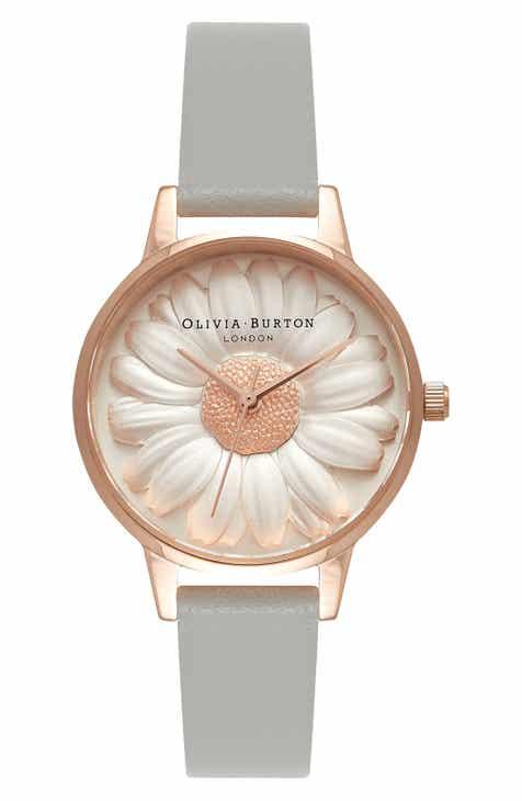 Olivia Burton 3D Daisy Leather Strap Watch 4281cc71c5