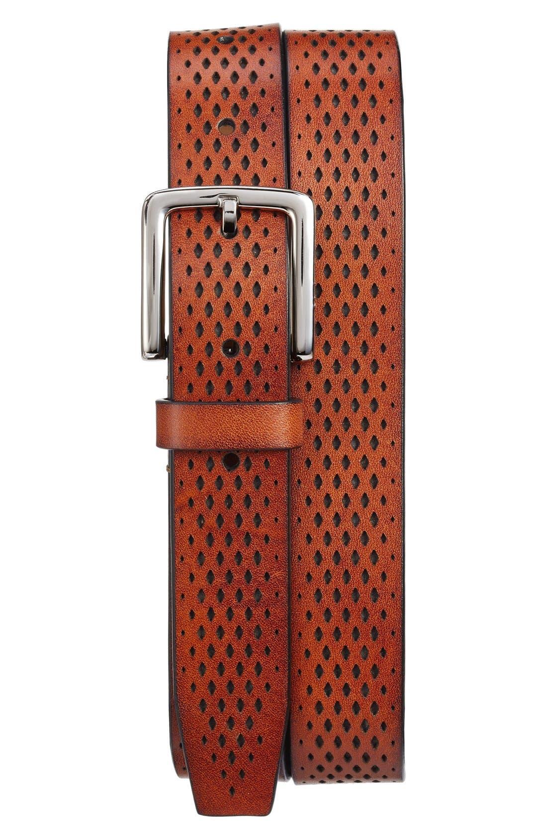 Washington Grand Perforated Leather Belt,                             Main thumbnail 1, color,                             Tan