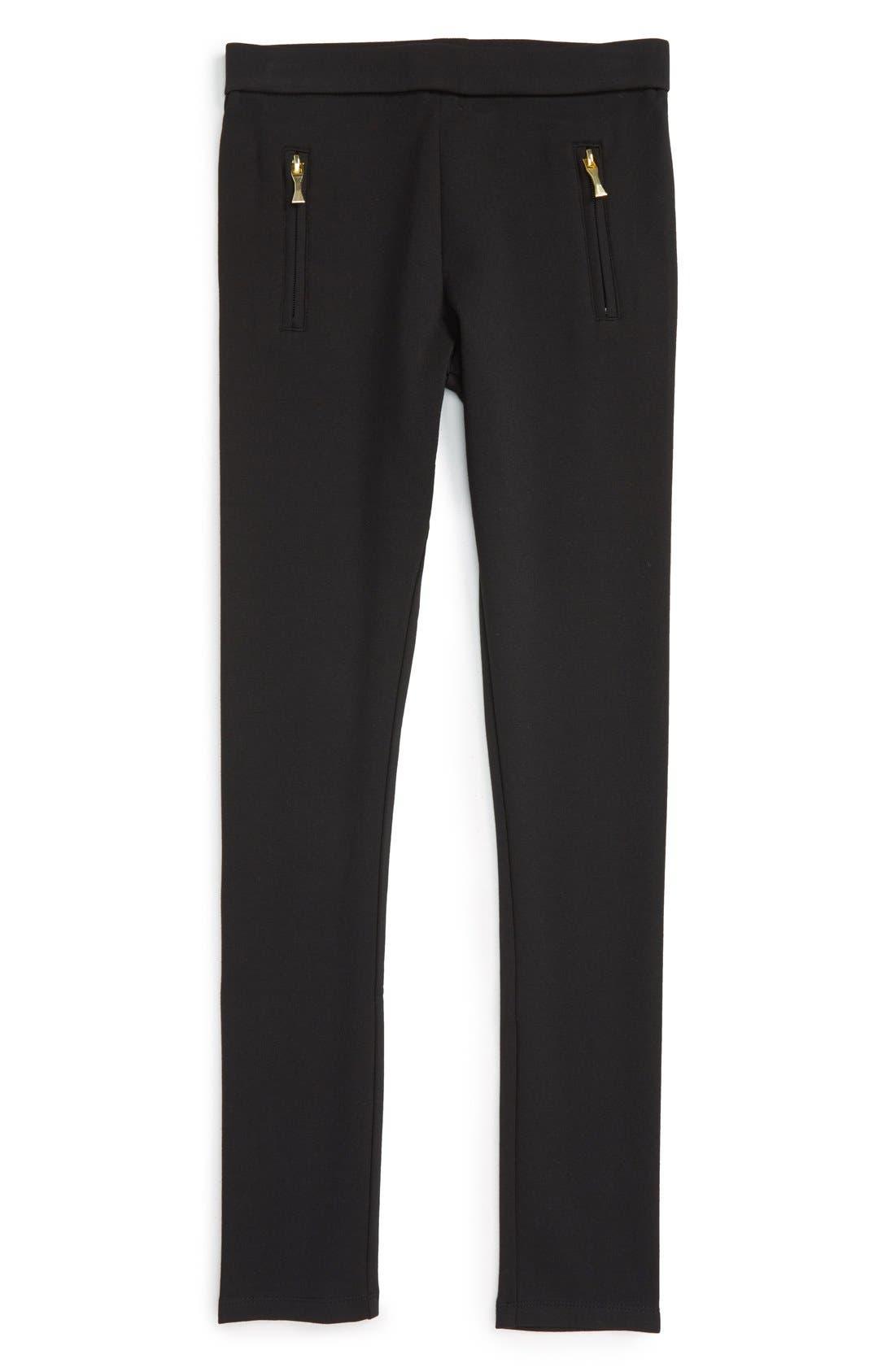 zip leggings,                             Main thumbnail 1, color,                             Black