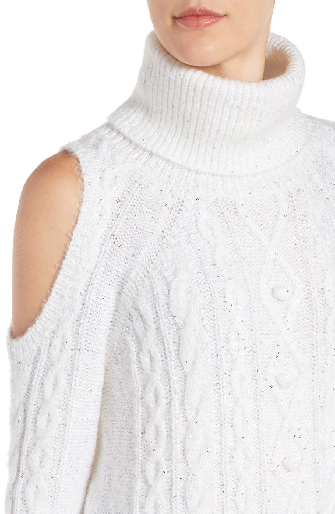 Alternate Image 4  - Chelsea28 Sequin Cold Shoulder Sweater