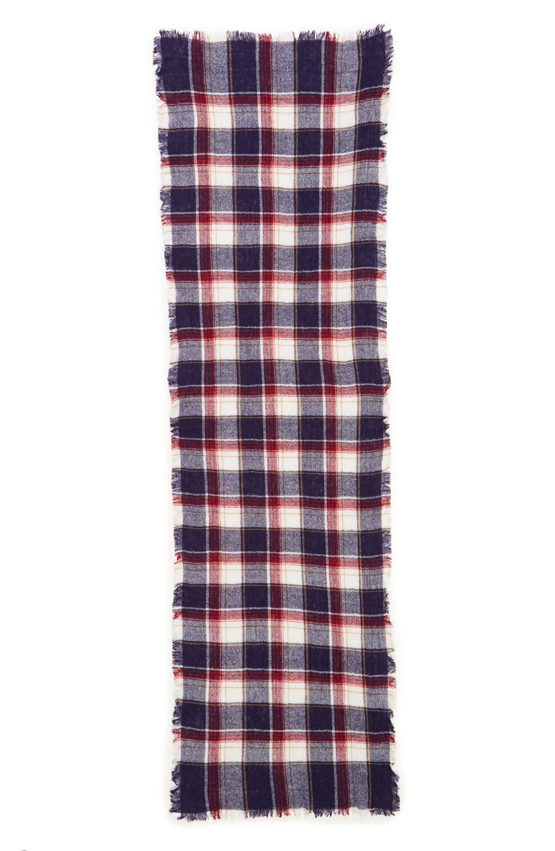 'Range' Plaid Wool Scarf,                             Alternate thumbnail 2, color,                             Dark Midnight