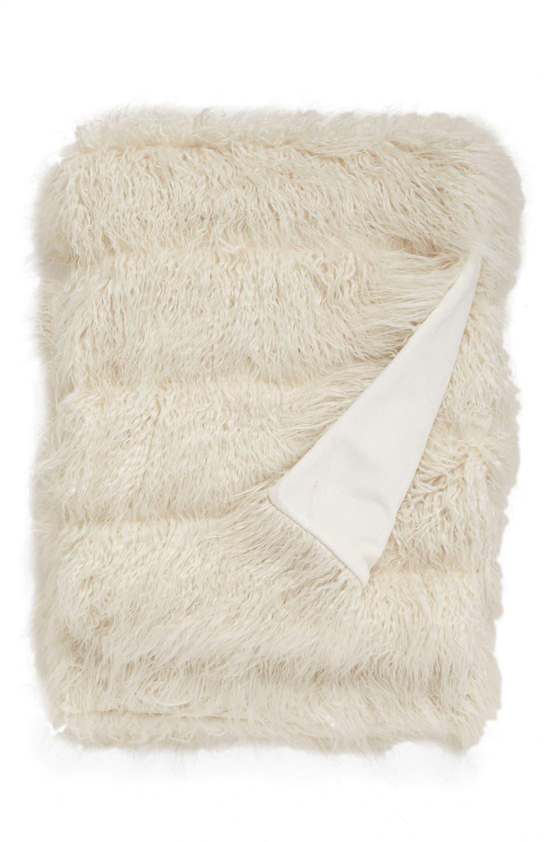 Mongolian Faux Fur Throw,                         Main,                         color, Ivory
