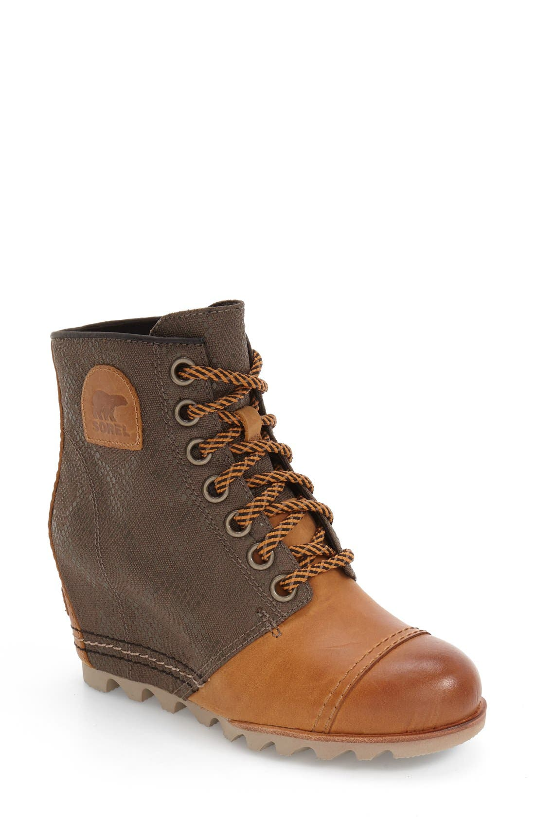'1964 Premium Canvas' Waterproof Wedge Bootie,                             Main thumbnail 1, color,                             Elk