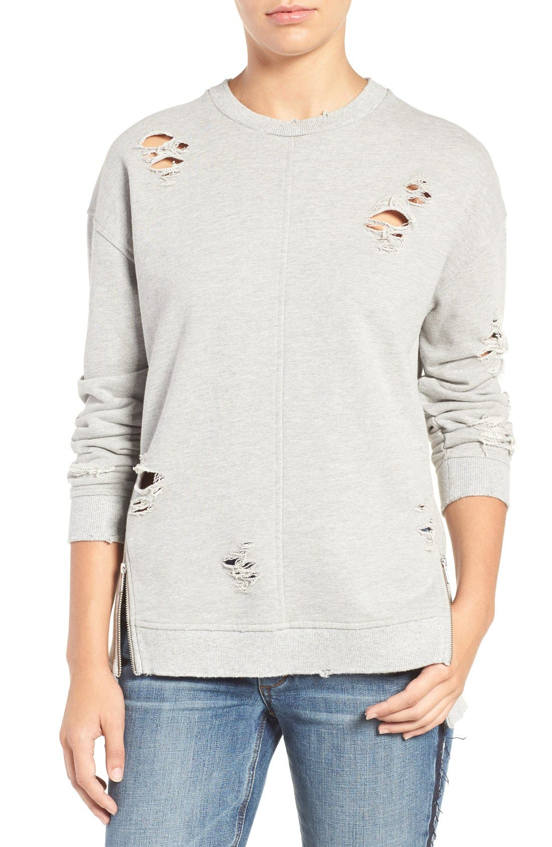 Lyndon Ripped Pullover,                         Main,                         color, Heather Grey
