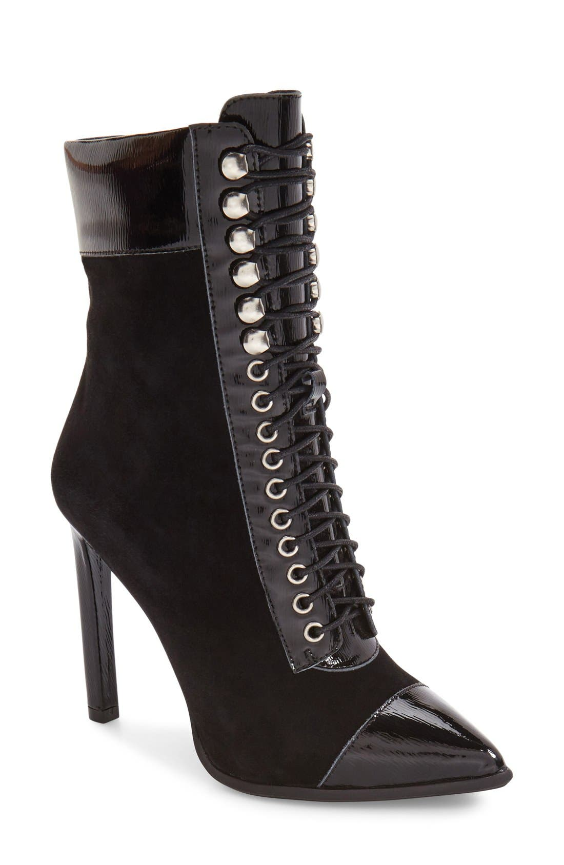 Elphie Pointy Toe Bootie,                         Main,                         color, Black Suede