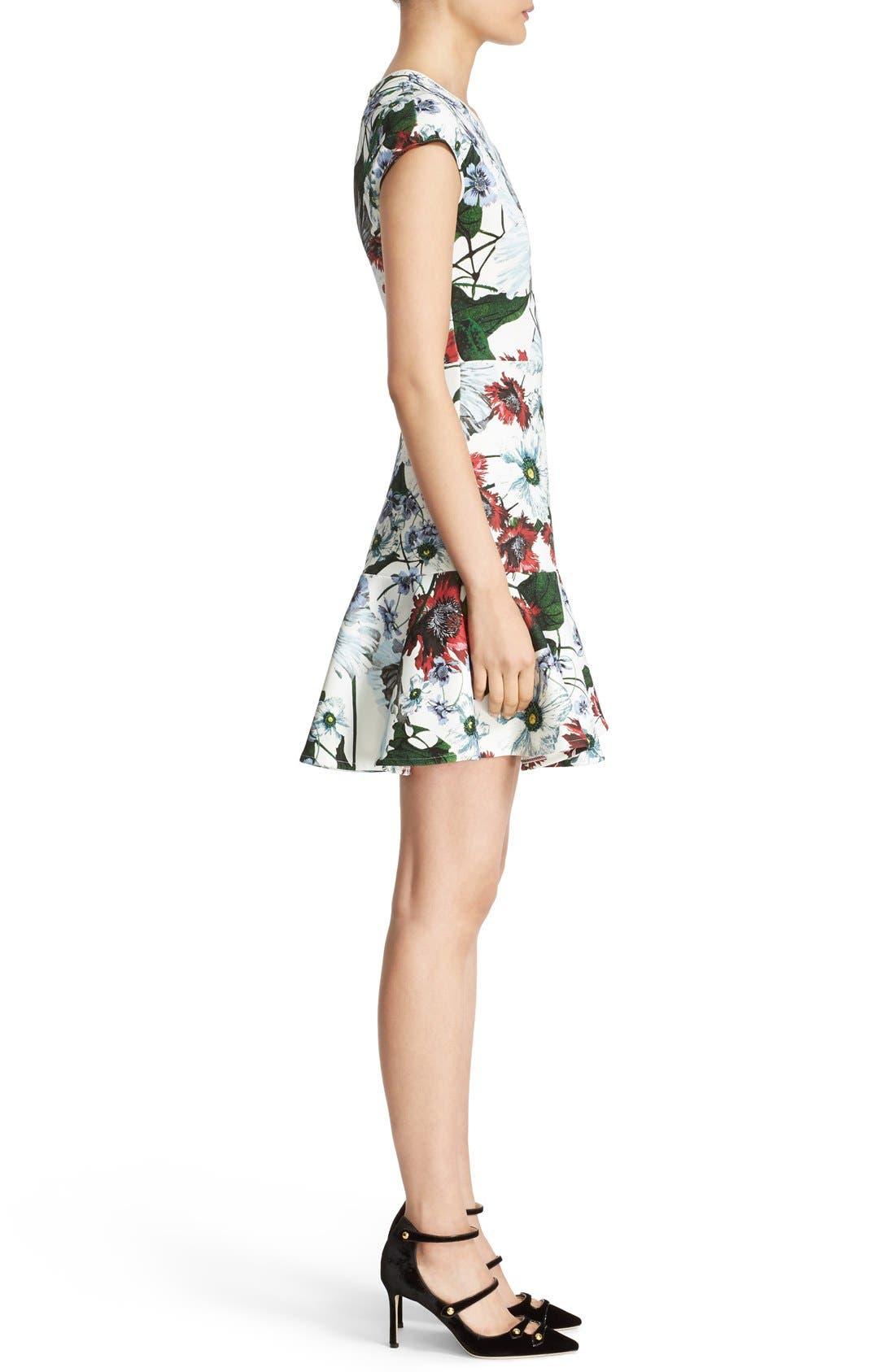 Darlna Floral Print Neoprene Flutter Hem Dress,                             Alternate thumbnail 4, color,                             White/ Red