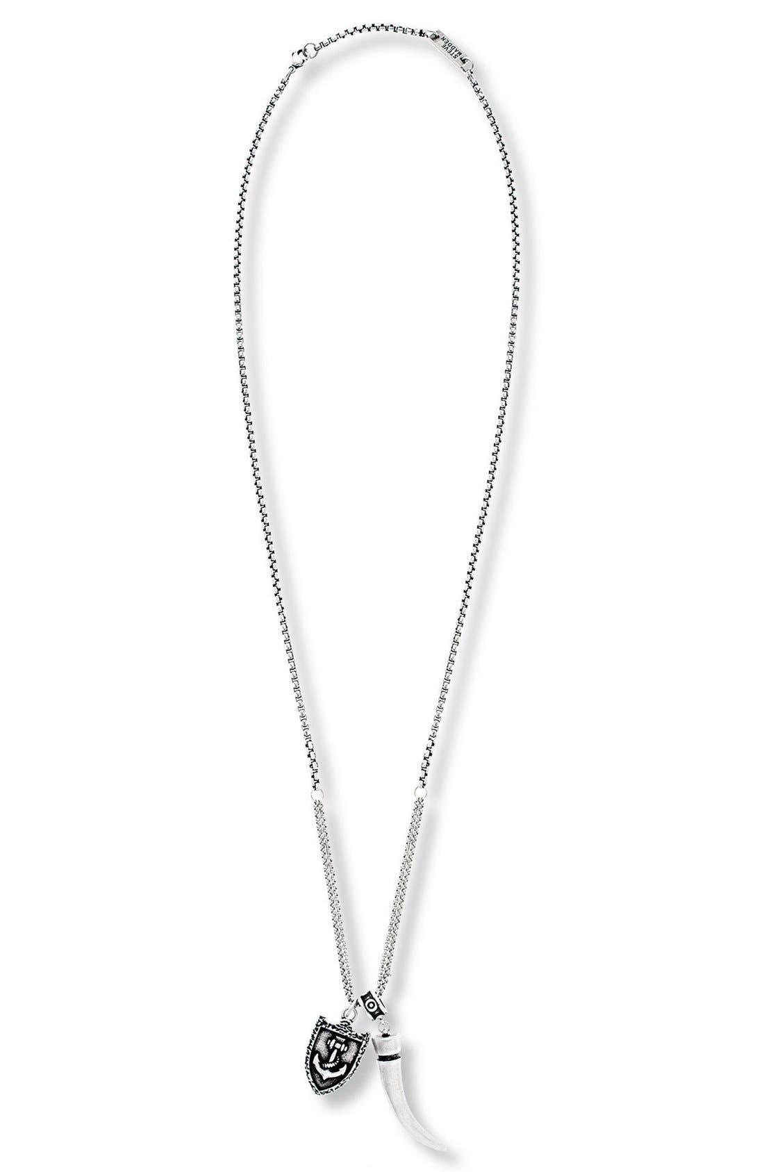 Main Image - Steve Madden Horn & Armor Pendant Necklace
