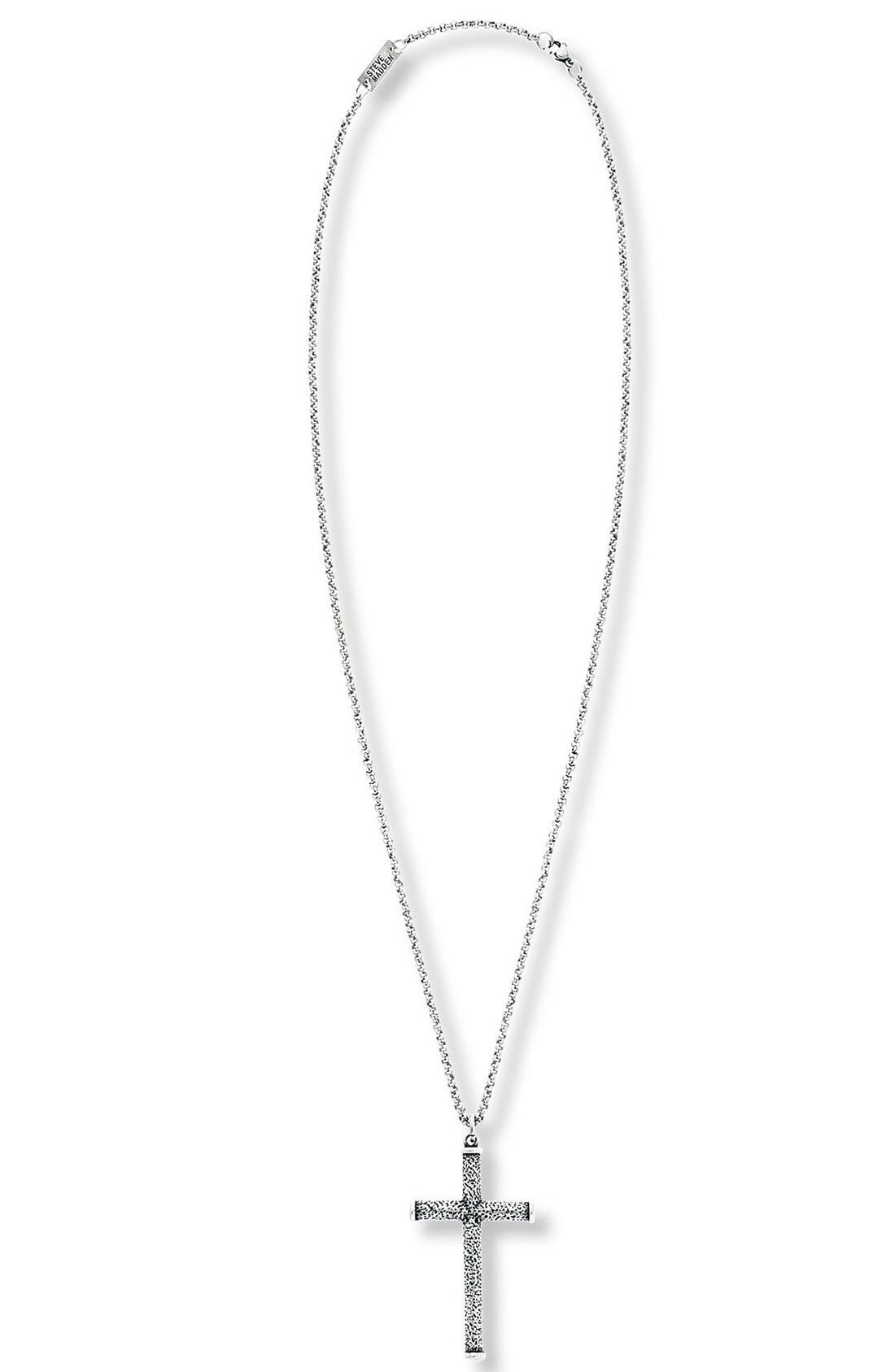 Main Image - Steve Madden Hammered Cross Pendant Necklace