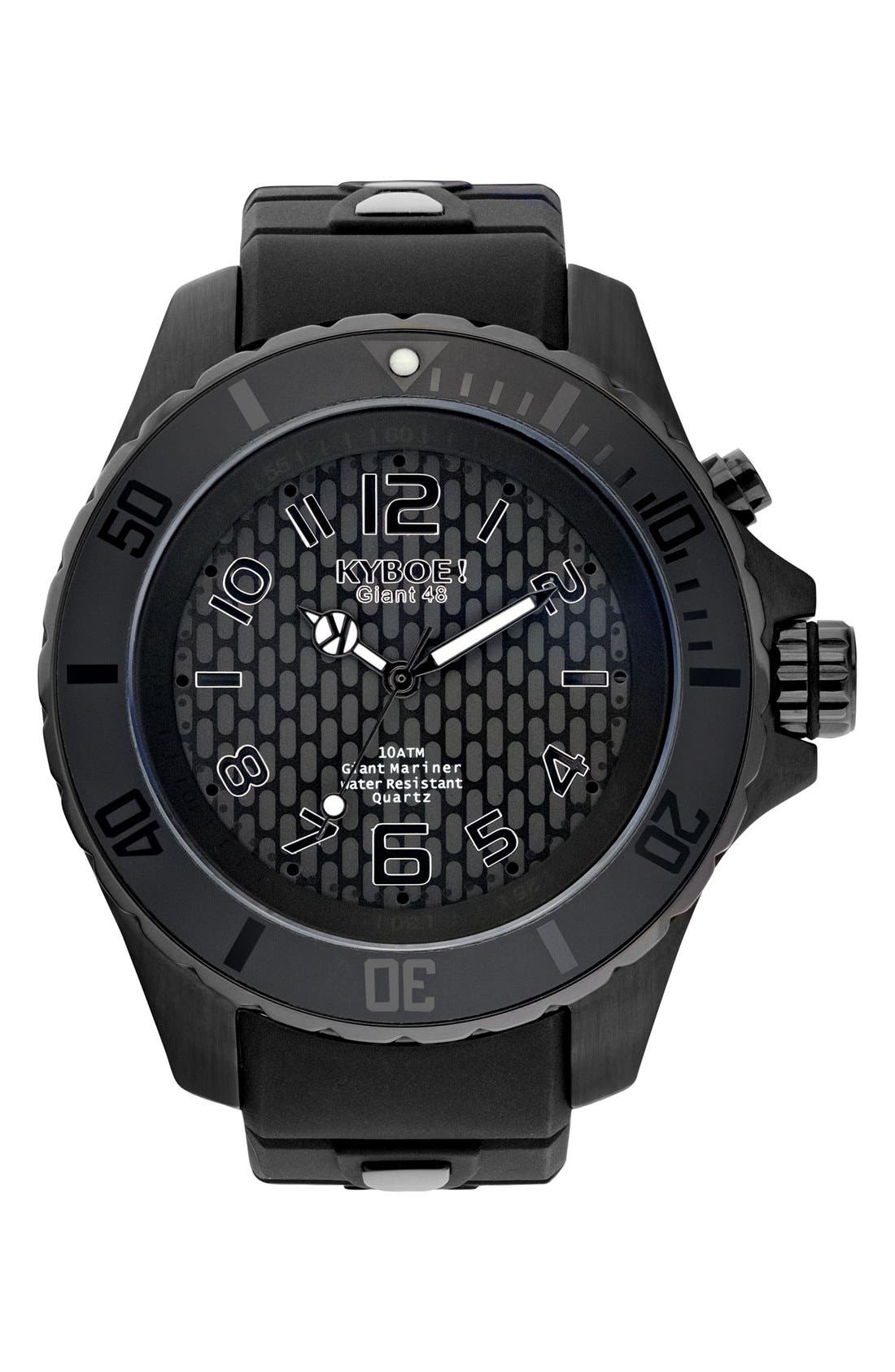 Power Silicone Strap Watch, 48mm,                         Main,                         color, Black