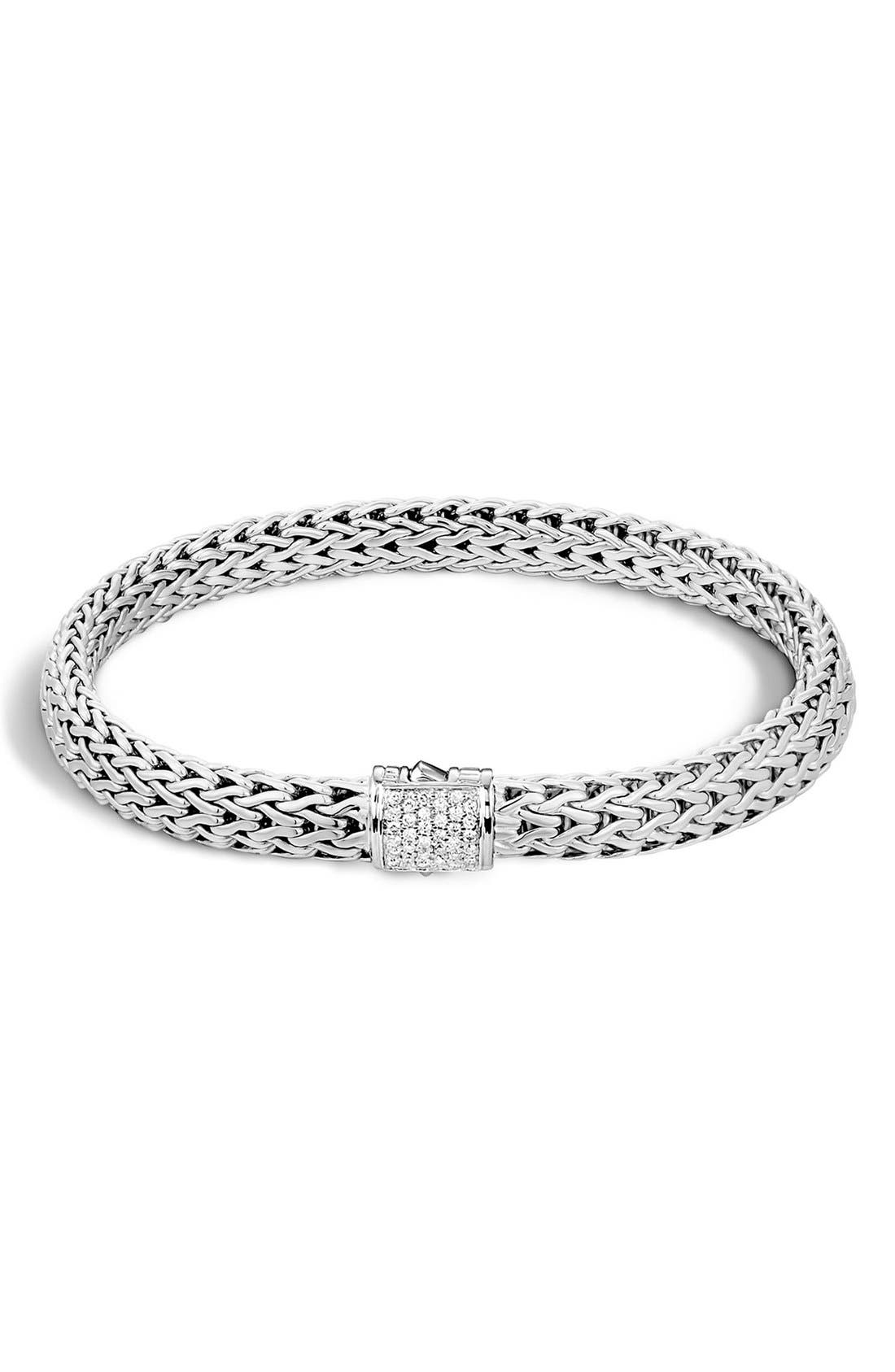 'Classic Chain' Diamond Small Bracelet,                             Main thumbnail 1, color,                             Silver/ Diamond