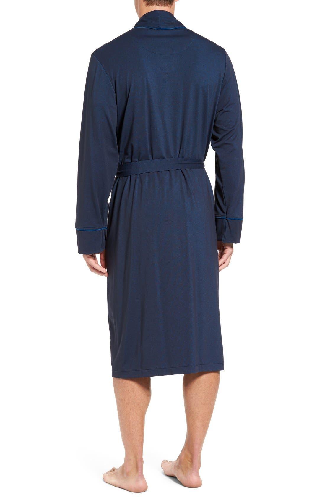 Cotton Blend Robe,                             Alternate thumbnail 2, color,                             Navy Mix