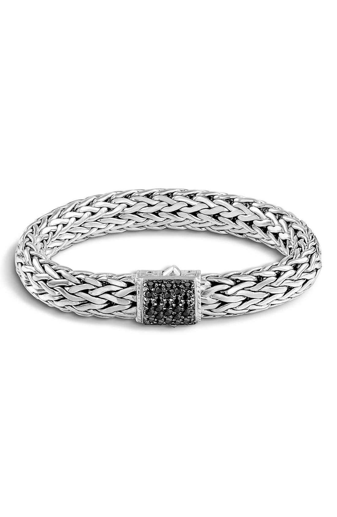 'Classic Chain' Large Bracelet,                             Main thumbnail 1, color,                             Silver/ Black Sapphire
