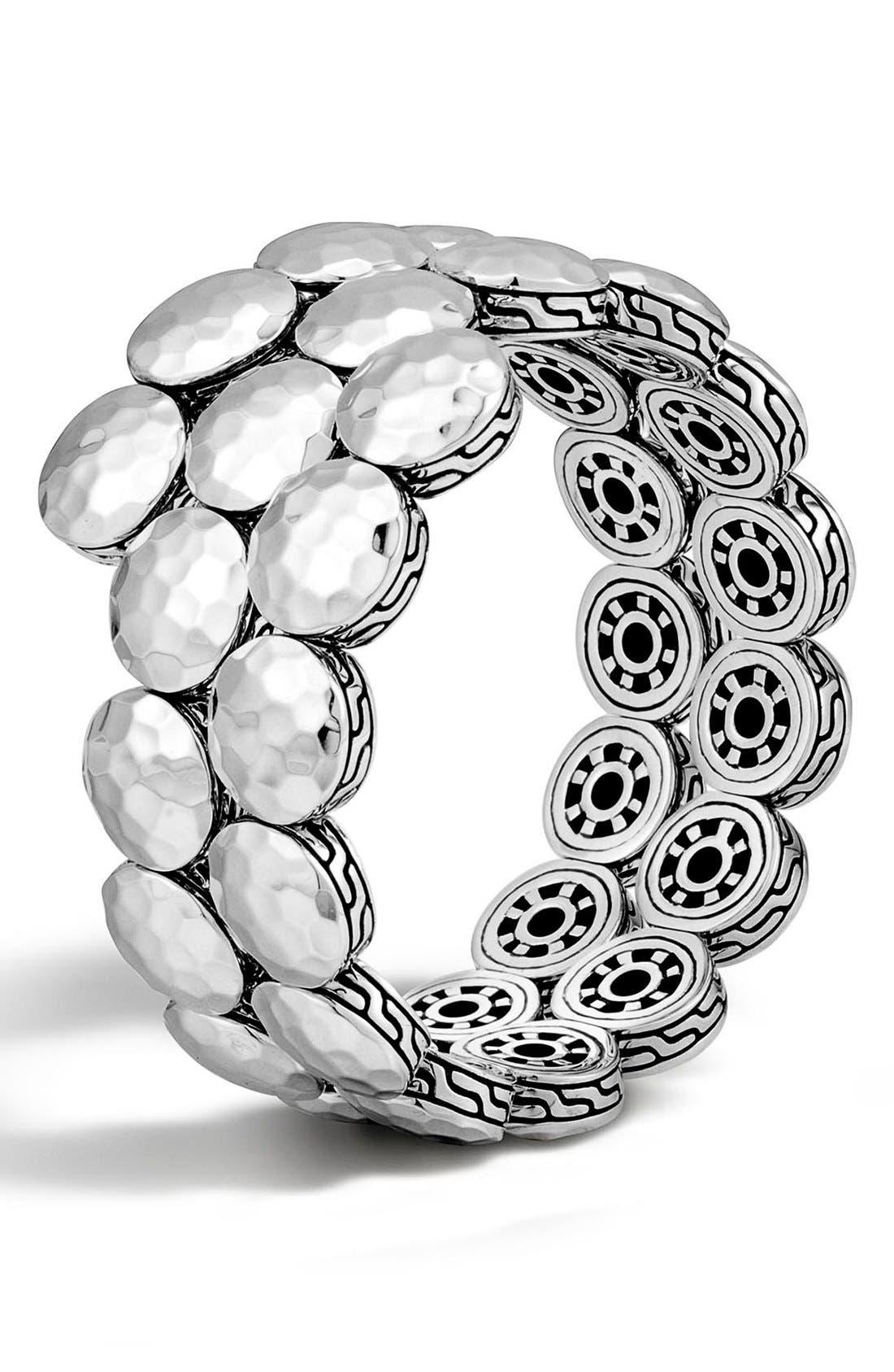 'Dot' Disc Double Coil Bracelet,                             Main thumbnail 1, color,                             Silver