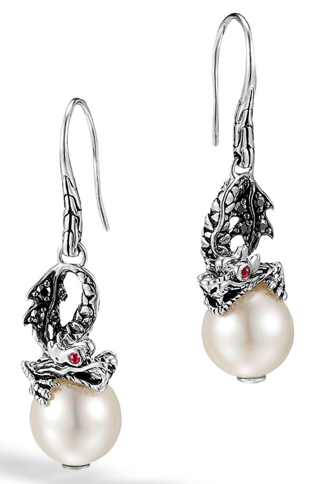 'Naga - Lava' Dragon & Pearl Drop Earrings,                             Main thumbnail 1, color,                             Silver