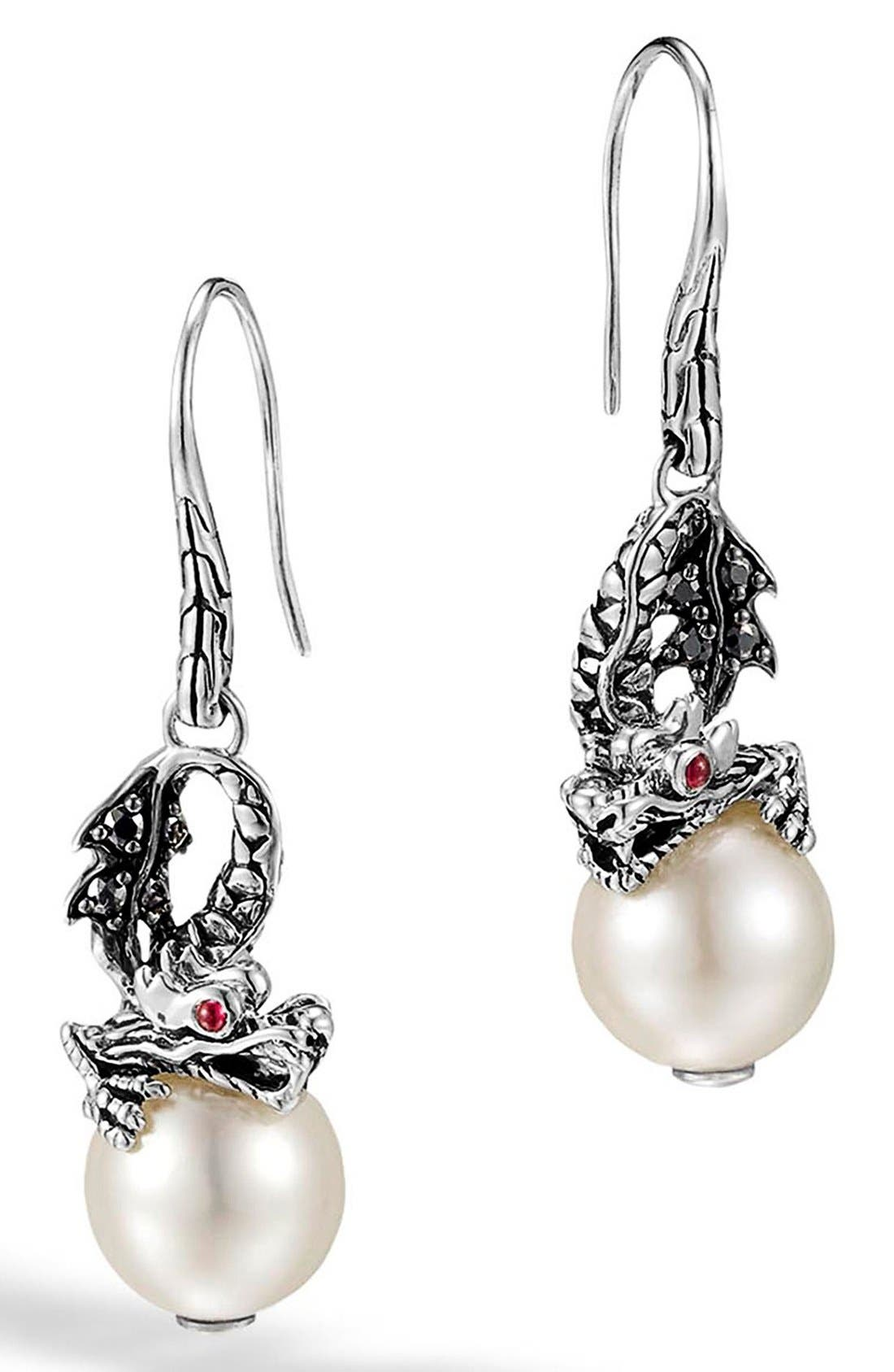 Main Image - John Hardy 'Naga - Lava' Dragon & Pearl Drop Earrings