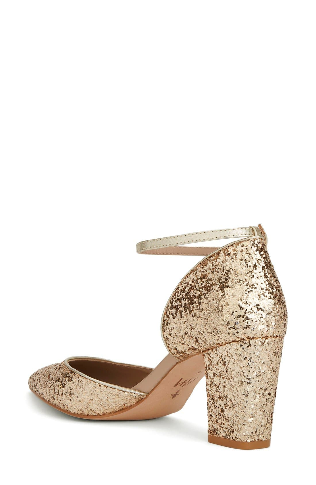 x Megan Hess Fleur-de-lis Collection Pump,                             Alternate thumbnail 2, color,                             Gold Sparkle