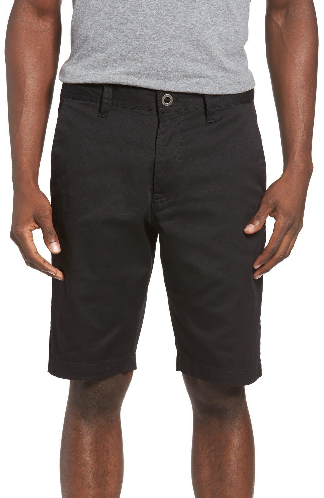 'Modern' Stretch Chino Shorts,                             Main thumbnail 1, color,                             Black