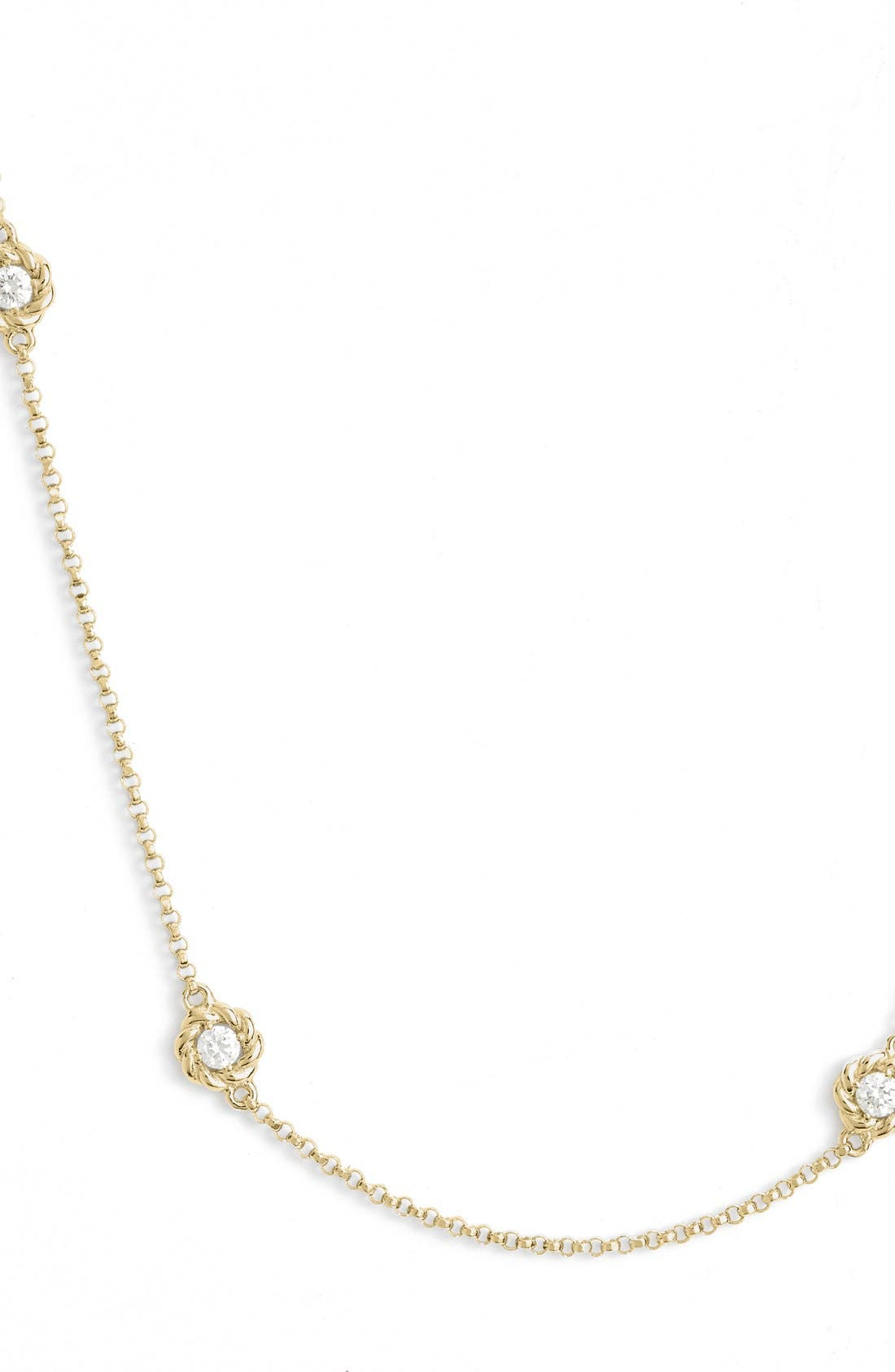 Diamond Station Necklace,                             Alternate thumbnail 2, color,                             Yellow Gold