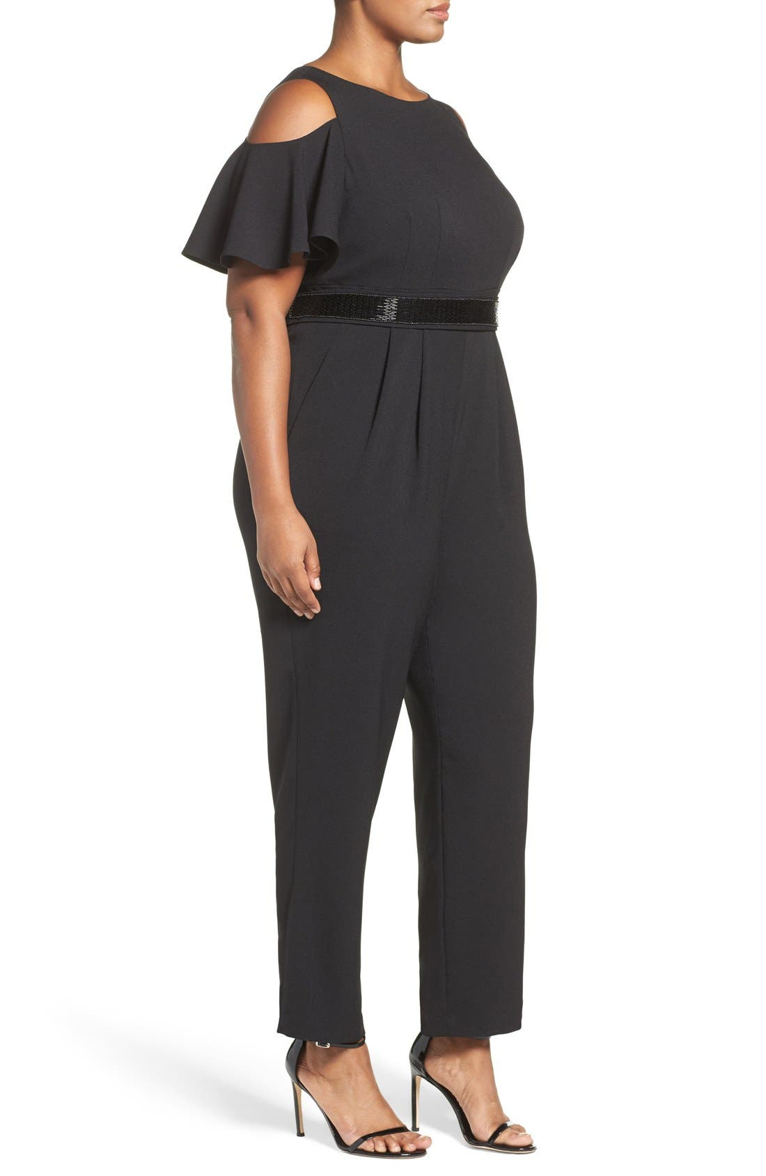 Embellished Cold Shoulder Jumpsuit,                             Alternate thumbnail 3, color,                             Black