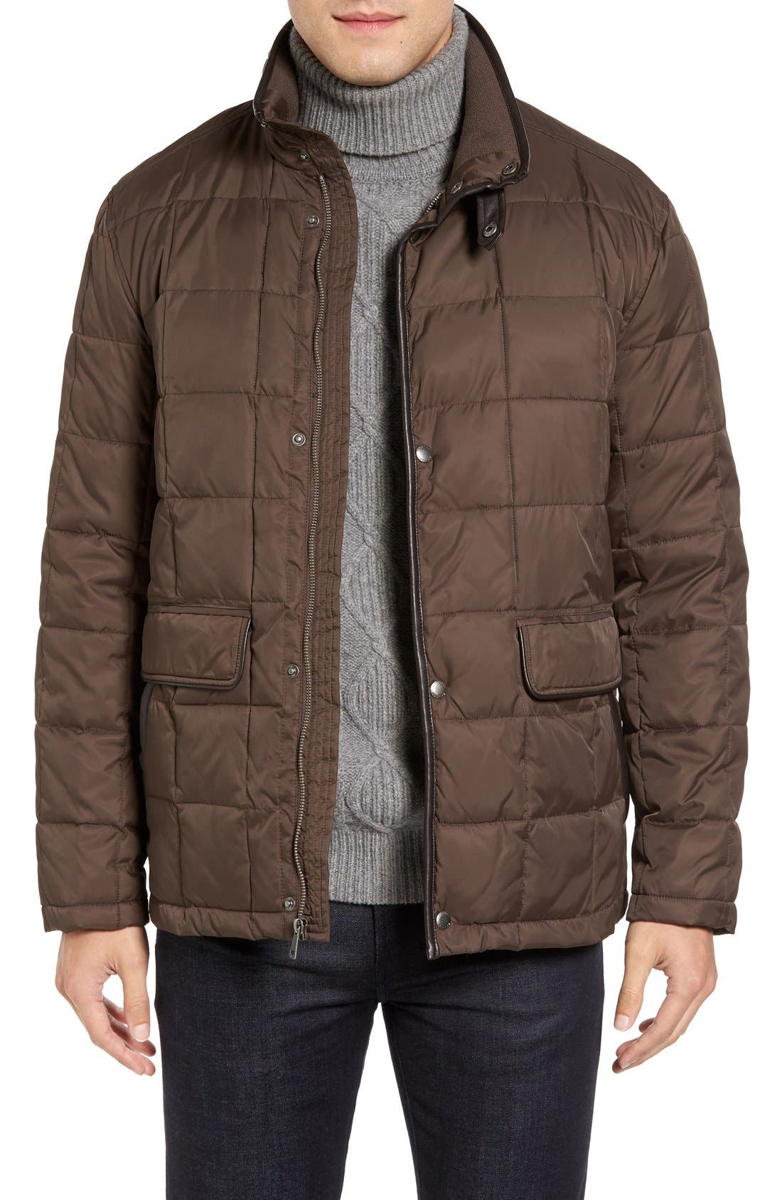 Box Quilted Jacket,                         Main,                         color, Wren