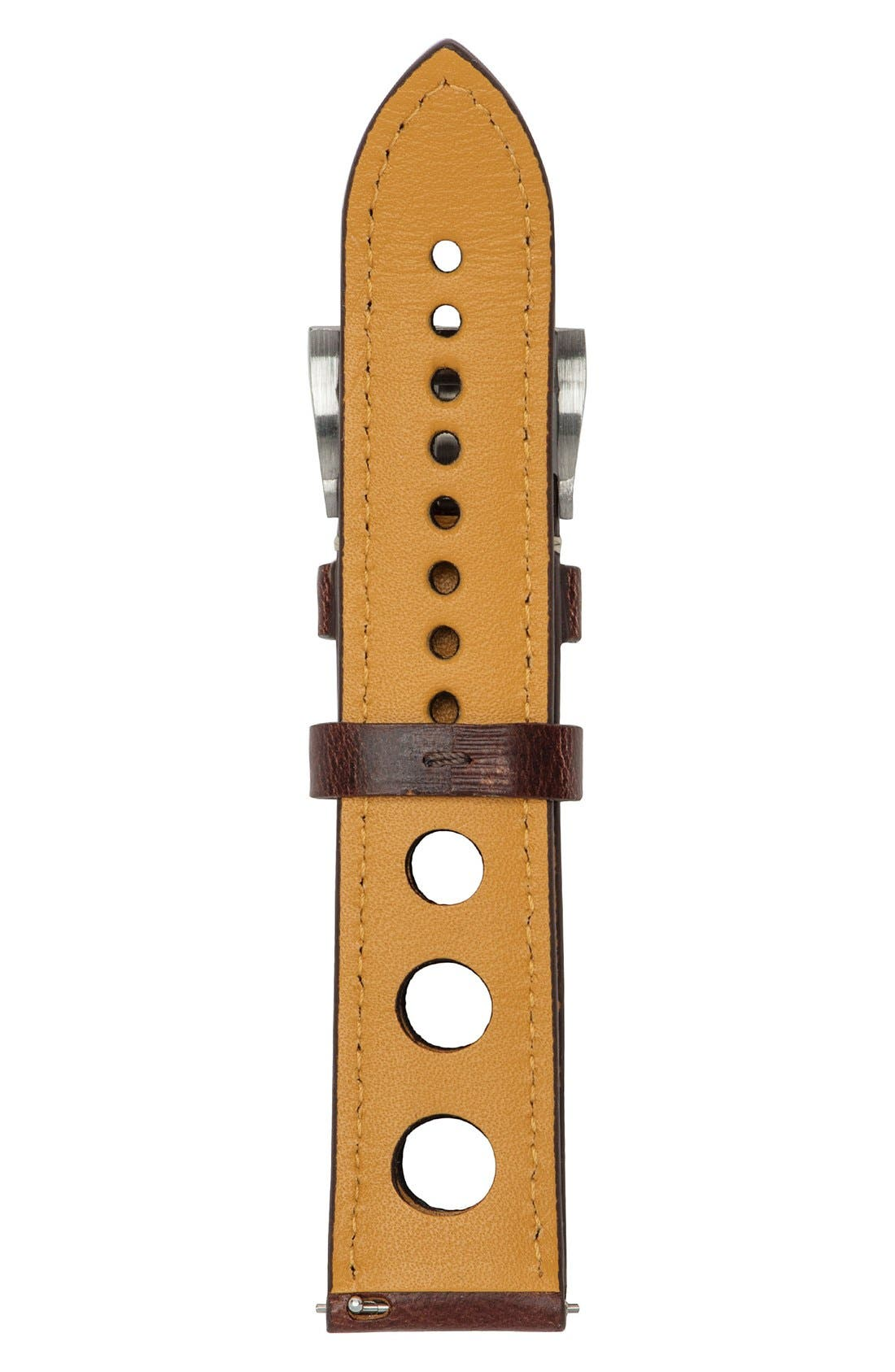 Perforated Leather Strap, 22mm,                             Alternate thumbnail 2, color,                             Brown