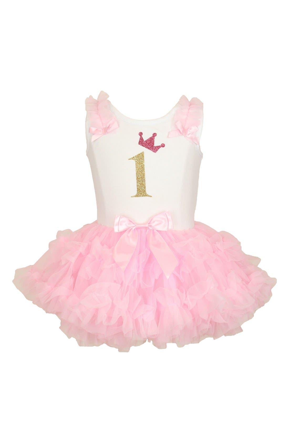 Birthday Tutu Dress,                         Main,                         color, Pink