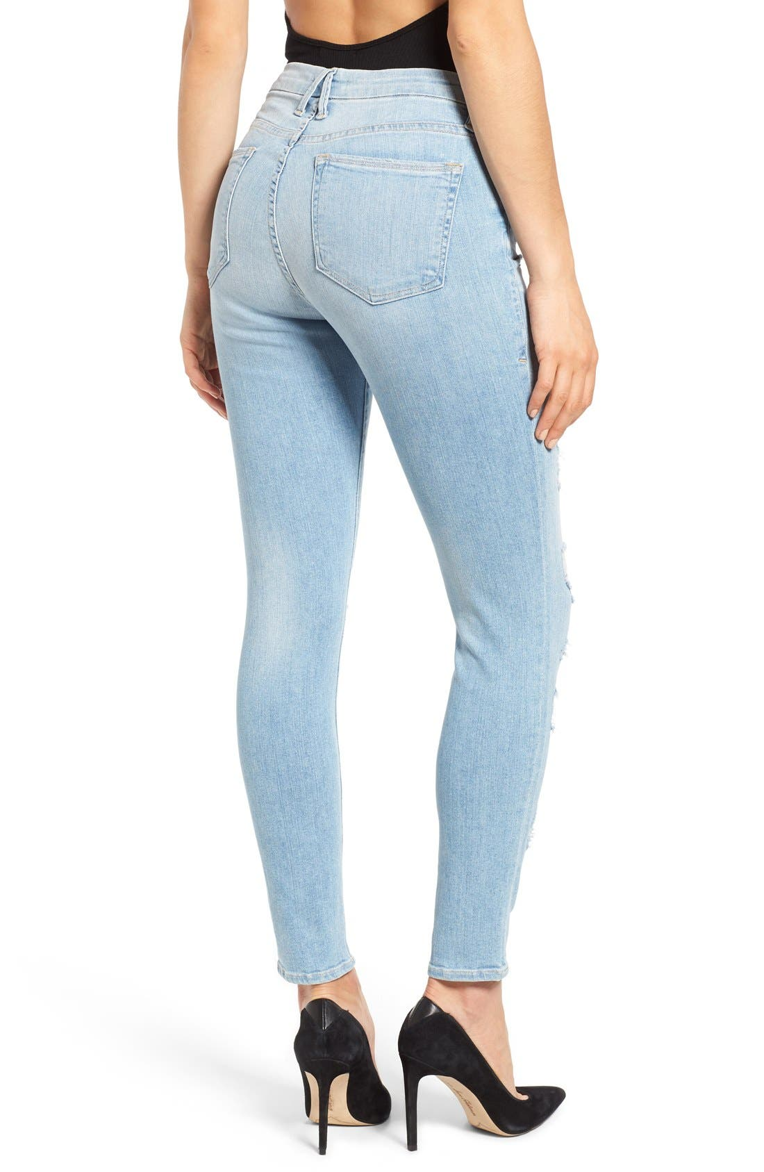 Alternate Image 2  - Good American Good Legs High Rise Ripped Skinny Jeans (Blue 008)