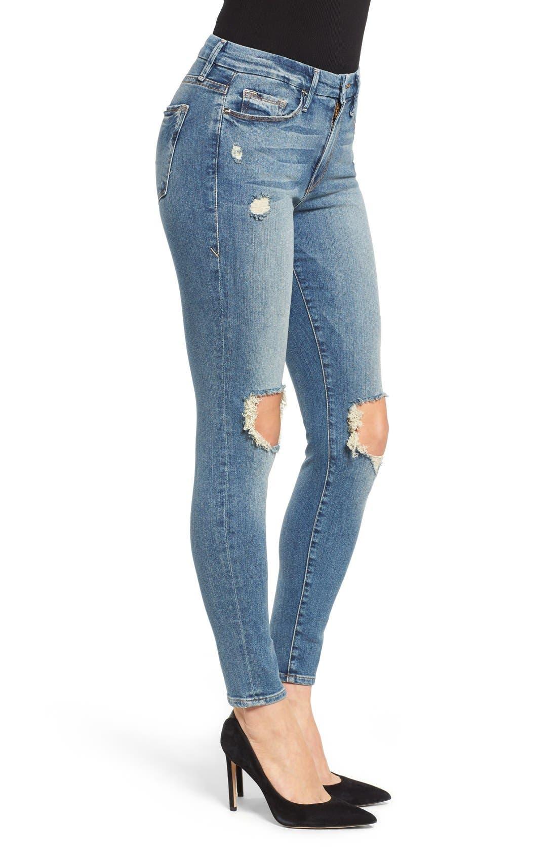 Alternate Image 3  - Good American Good Legs High Rise Ripped Skinny Jeans (Blue 006)