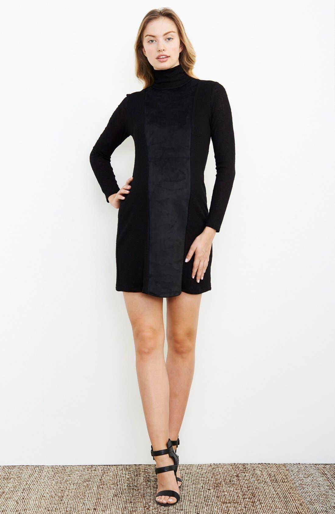 Turtleneck Maternity Dress,                         Main,                         color, Black